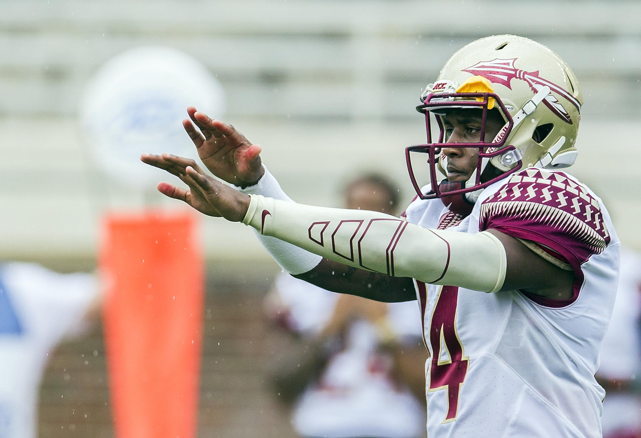 File-This photo taken April 11, 2015, shows Florida State quarterback De'Andre Johnson calling a play in the first half of Florida State Garnet & Gold spring college football game in Tallahassee, Fla.   Florida State has dismissed Johnson from the team on