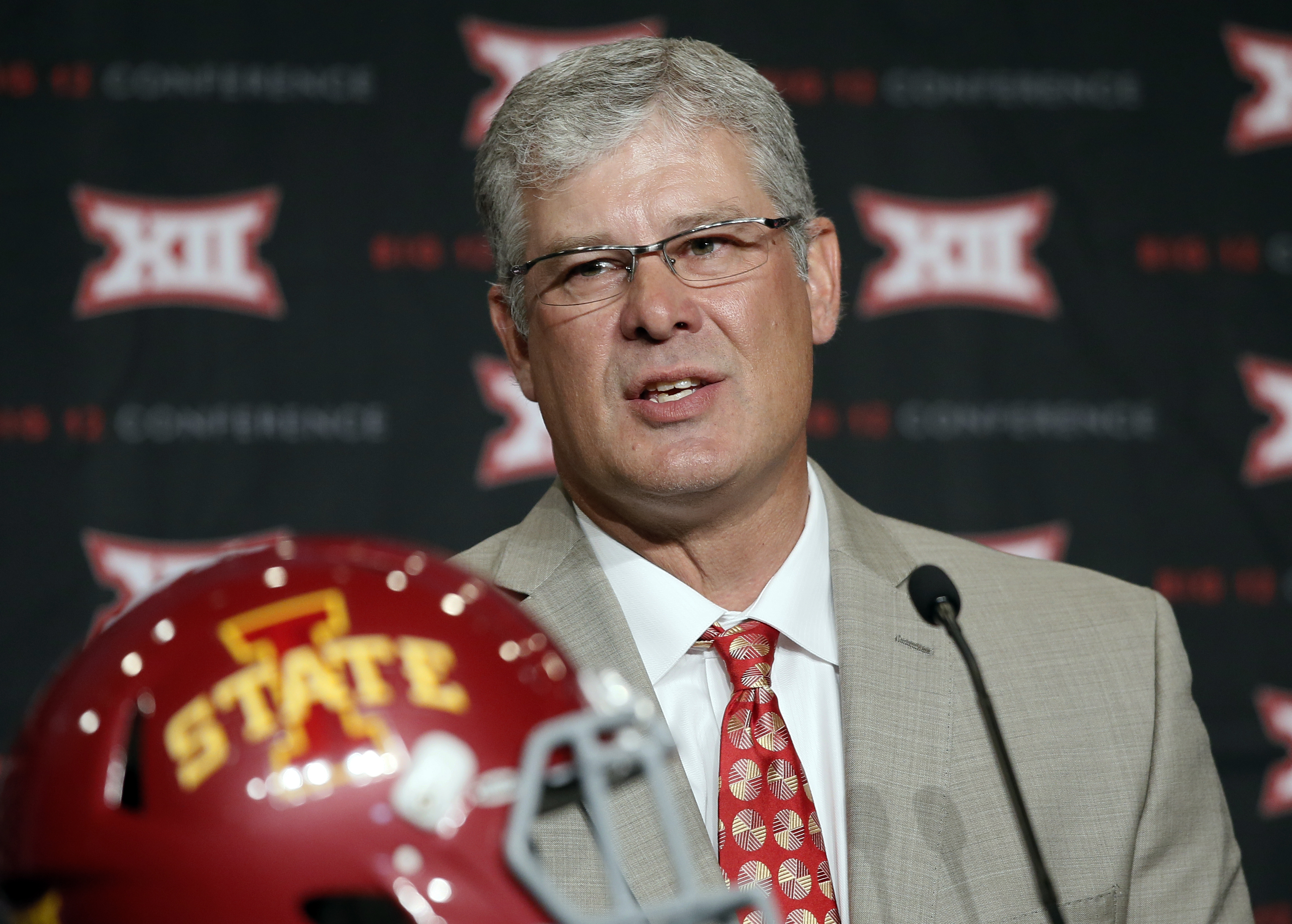 Iowa State head football coach Paul Rhoads addresses attendees at the NCAA college Big 12 Conference Football Media Days Tuesday, July 21, 2015, in Dallas. (AP Photo/Tony Gutierrez)