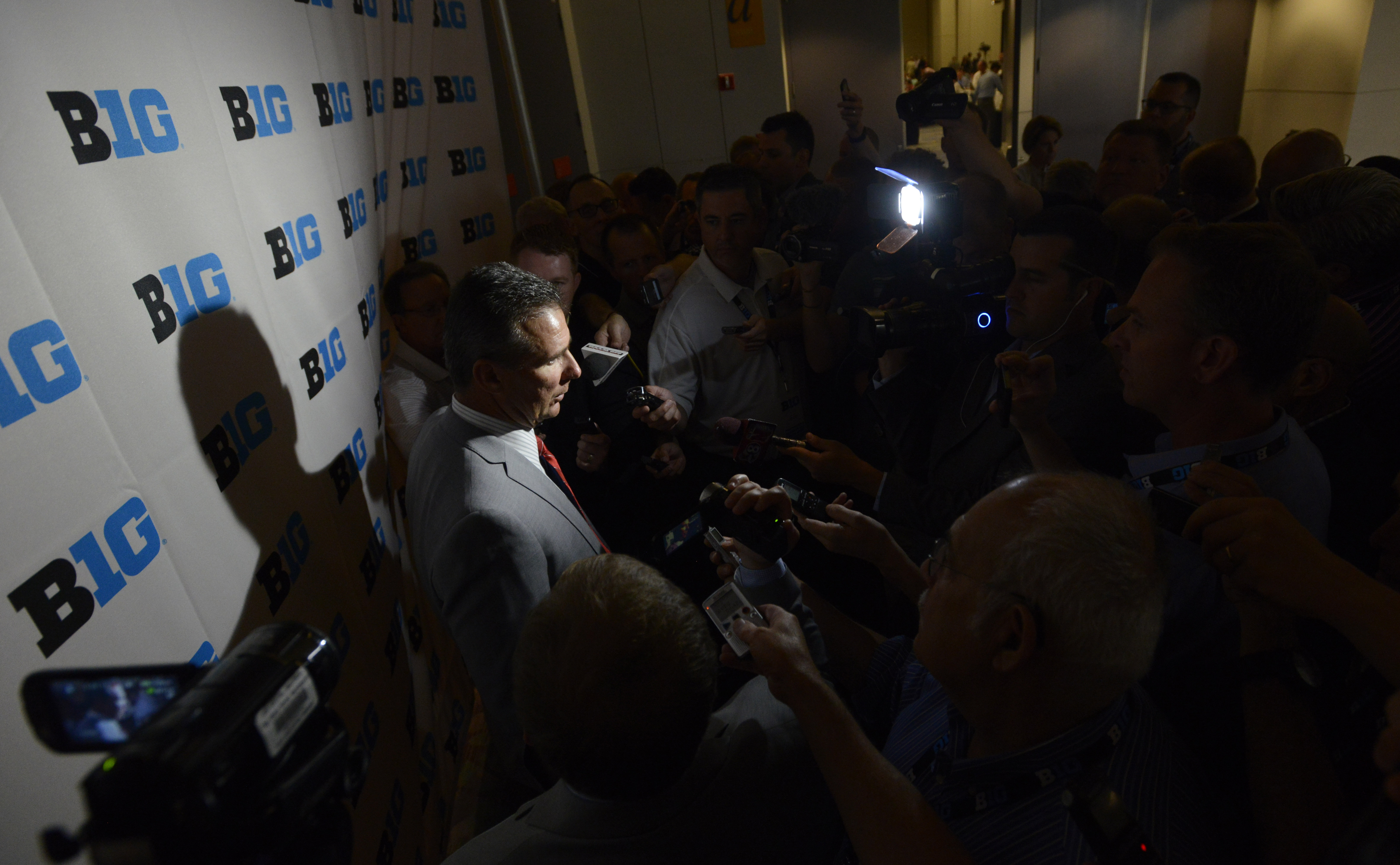 Ohio State head coach Urban Meyer speaks to the media during the Big Ten Football Media Day Thursday, July 30, 2015 in Chicago. (AP Photo/Paul Beaty)