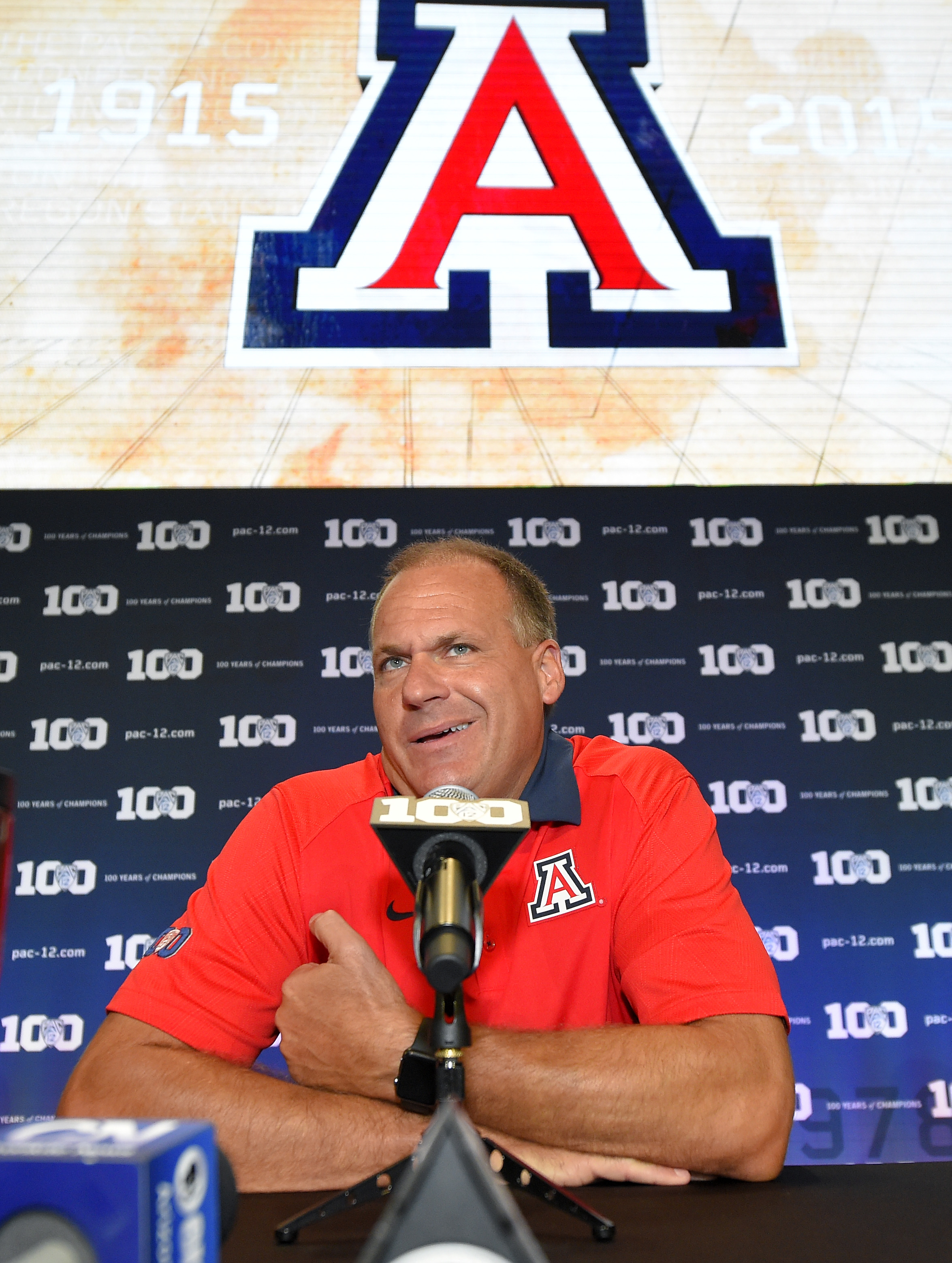 Arizona head coach Rich Rodriguez speaks to reporters during NCAA college Pac-12 Football Media Days, Friday, July 31, 2015, in Burbank, Calif. (AP Photo/Mark J. Terrill)