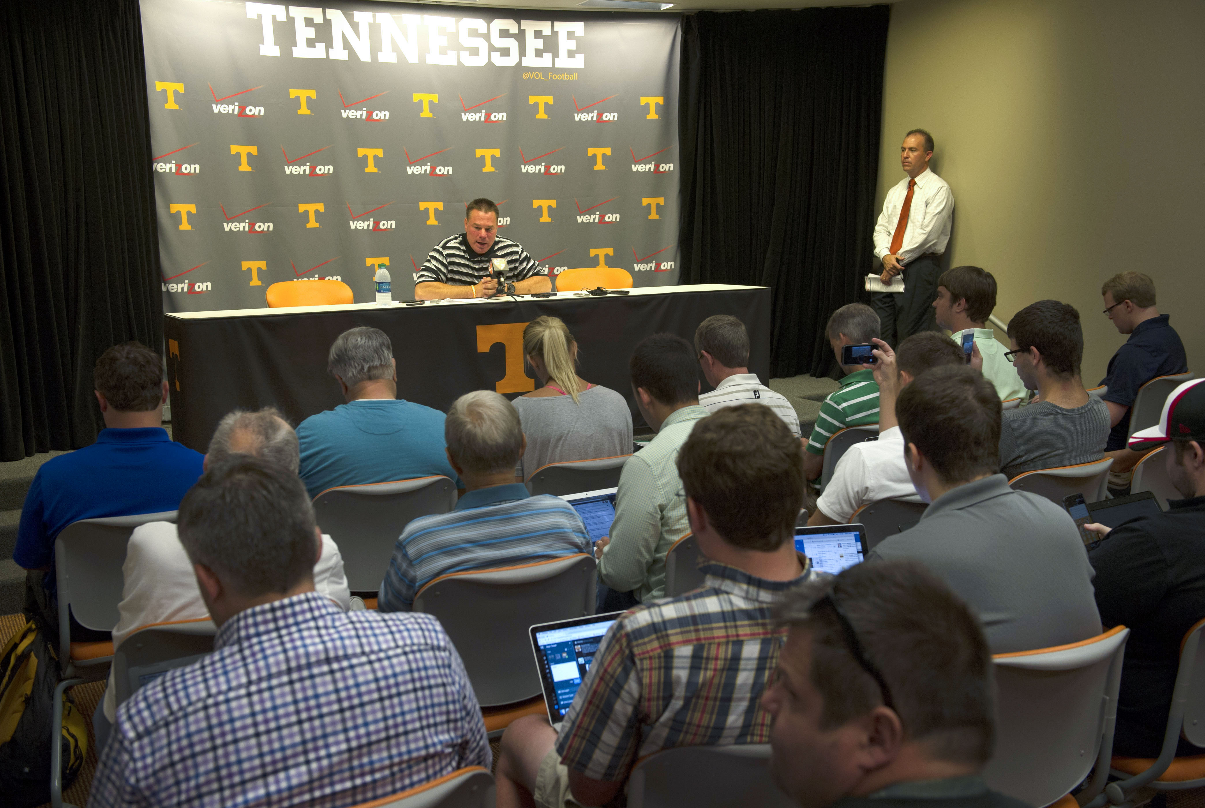 University of Tennessee football coach Butch Jones addresses the media during a preseason luncheon Monday, Aug. 3, 2015, in Knoxville, Tenn. The teams first NCAA college football practice of the season is Tuesday. (Amy Smotherman Burgess/Knoxville News Se