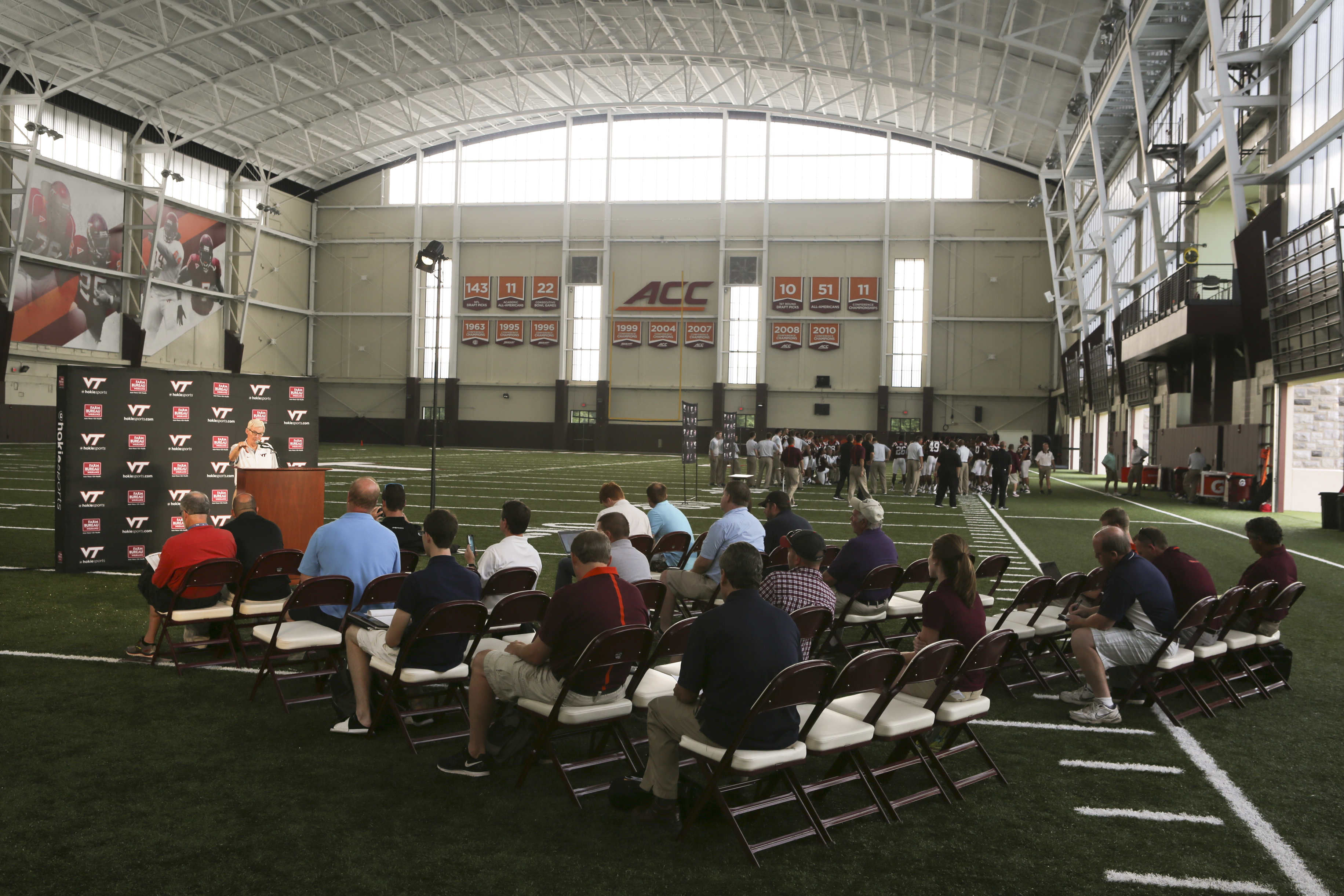 Virginia Tech head coach Frank Beamer holds a news conference inside the schools new indoor practice facility dubbed the Beamer Barn as the Virginia Tech college football team held its annual pre-season media and fan appreciation day in Blacksburg, Va., o