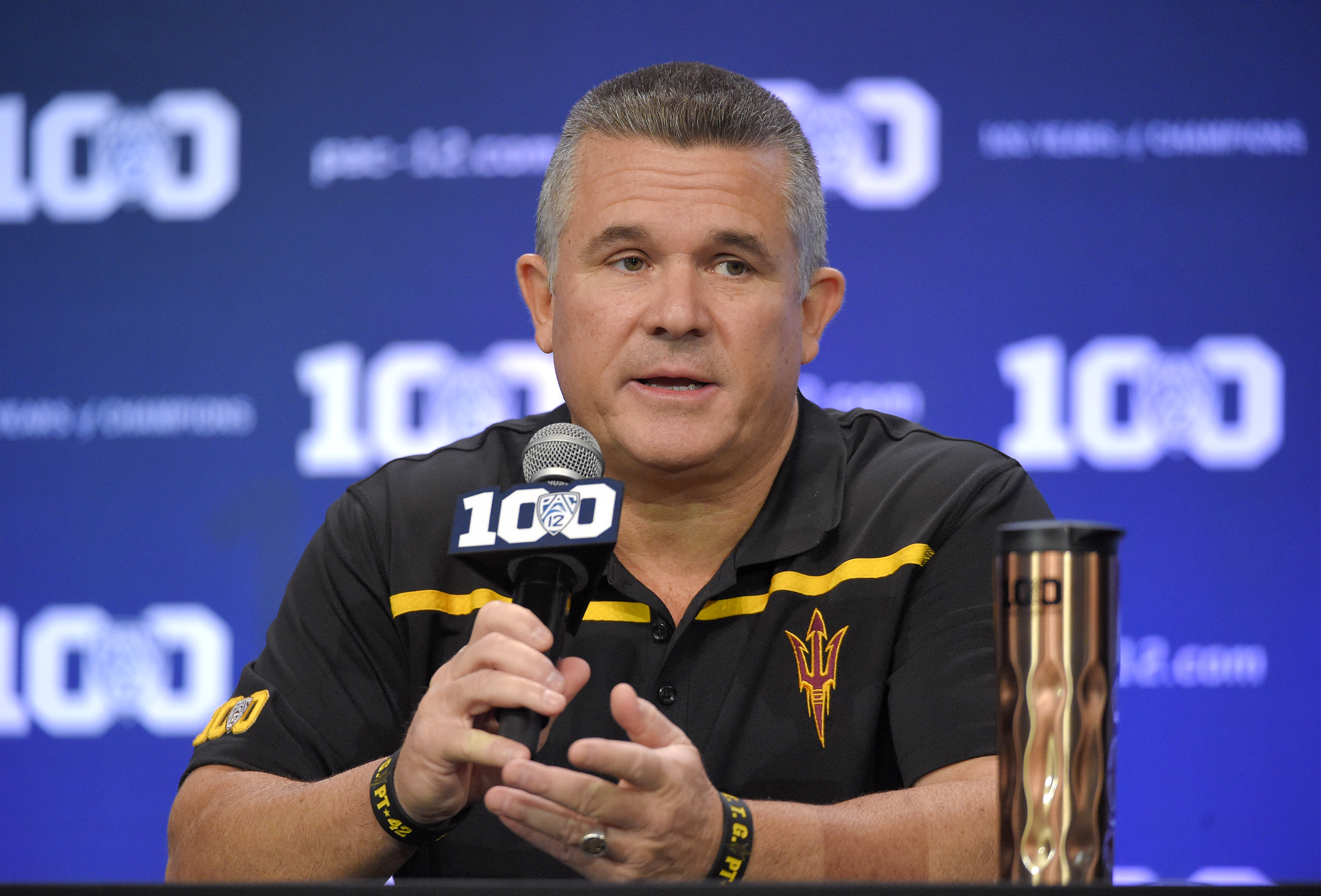 FILE - In this July 30, 2015, file photo, Arizona State head coach Todd Graham speaks to reporters during Pac-12 Football Media Days in Burbank, Calif. odd Graham is a master salesman, sometimes adding a dash of hyperbole to drive his point home. Calling