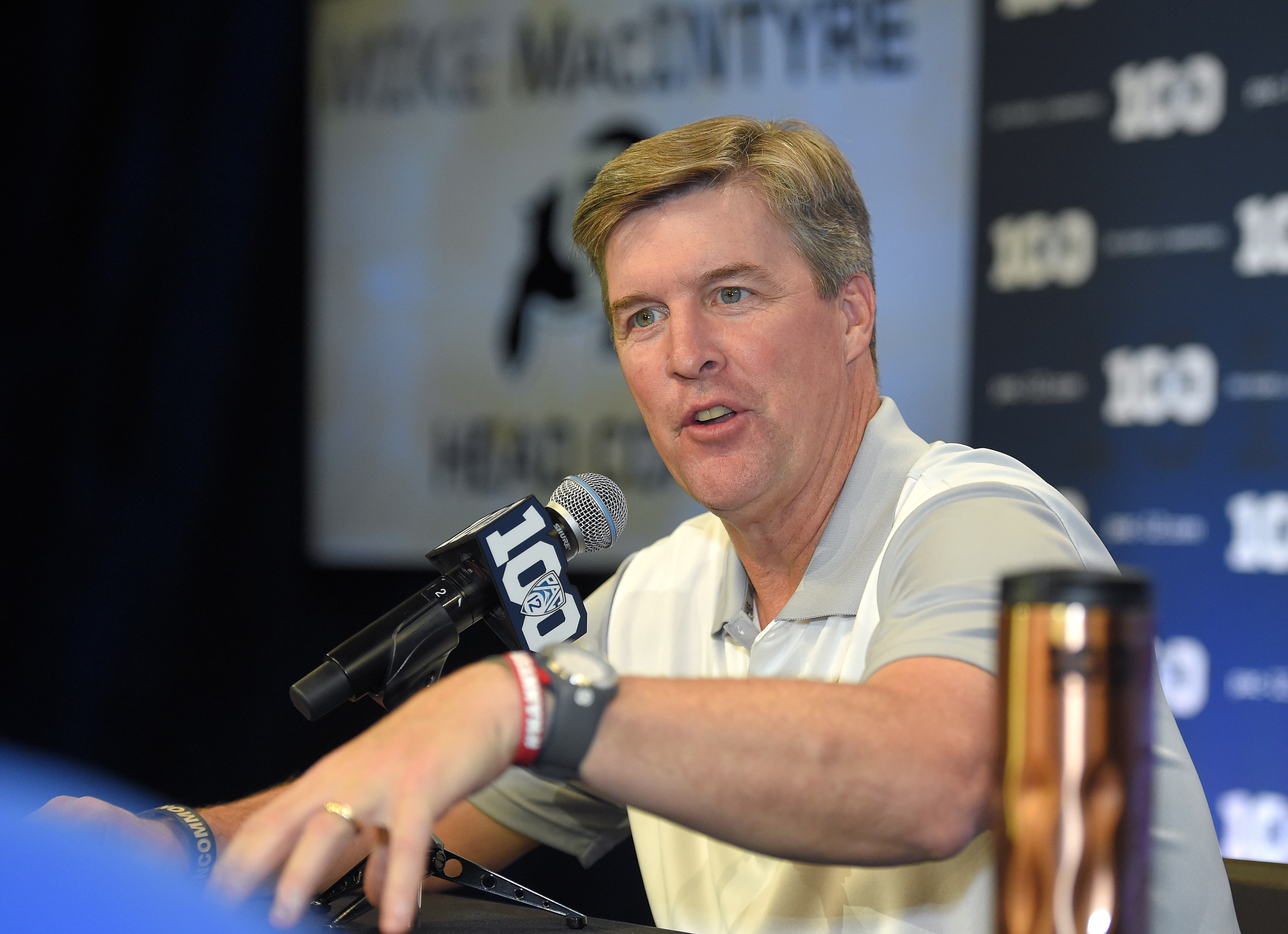 FILE - In this July 30, 2015, file photo, Colorado head coach Mike MacIntyre speaks to reporters during NCAA college Pac-12 Football Media Days in Burbank, Calif. Ever so gradually, the Colorado Buffaloes are becoming a first-rate program _ in terms of fa