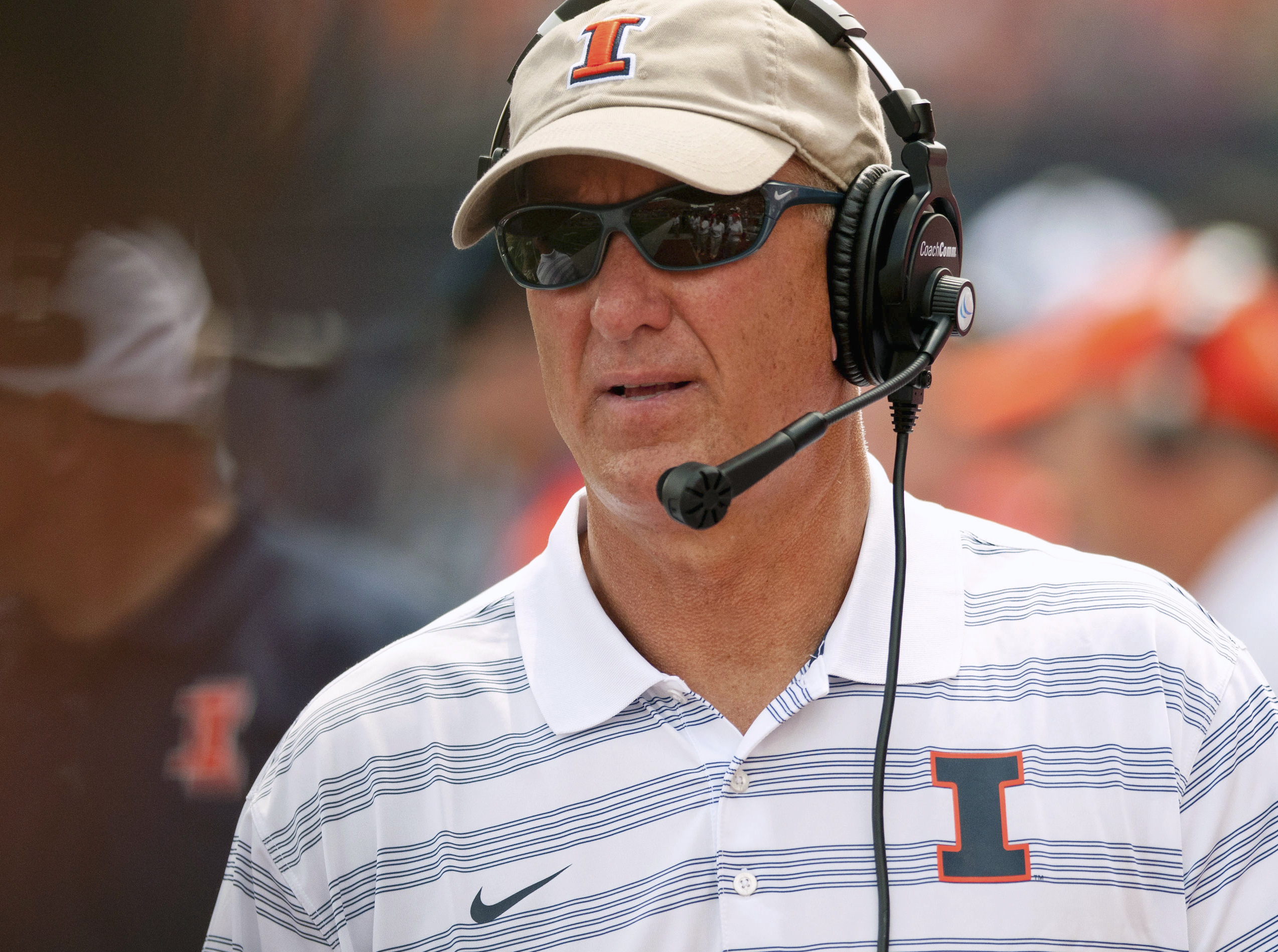 FILE - In this Aug. 30, 2014, file photo, Illinois offensive coordinator Bill Cubit watches from the sidelines during an NCAA college football game against Youngstown State in Champaign, Ill. Cubit says keeping returning quarterback Wes Lunt healthy is a