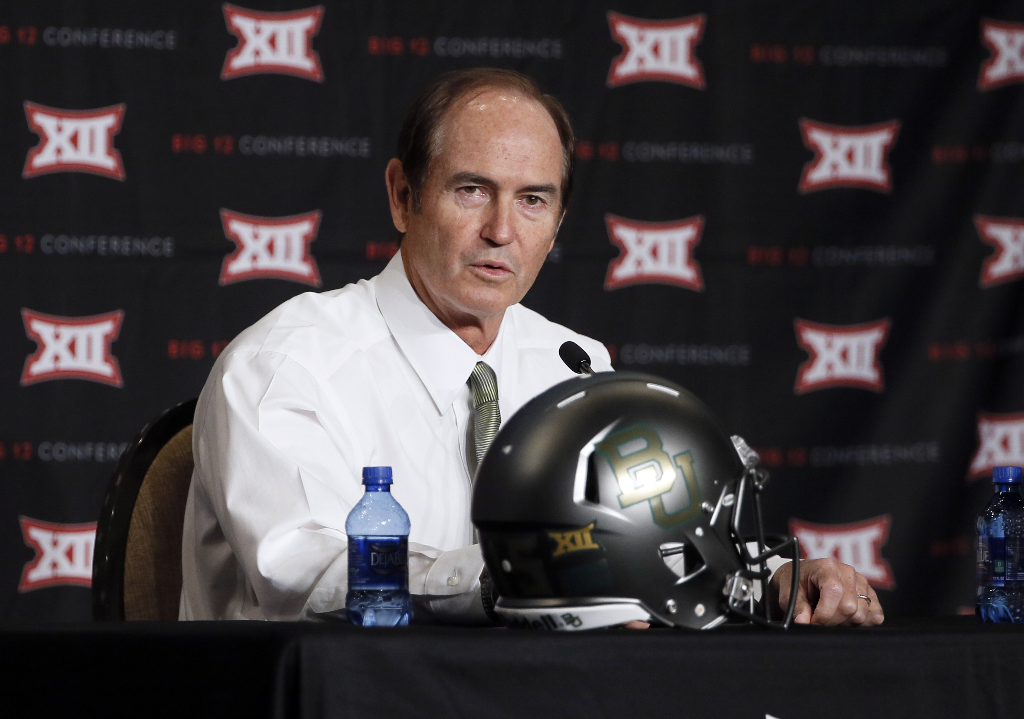 FILE - In this July 21, 2015, file photo, Baylor head coach Art Briles addresses attendees at the Big 12 Conference Football Media Days in Dallas. TCU coach gary Patterson and Baylor coach Art Briles know a nearly-sure-fire way for their teams, and the Bi