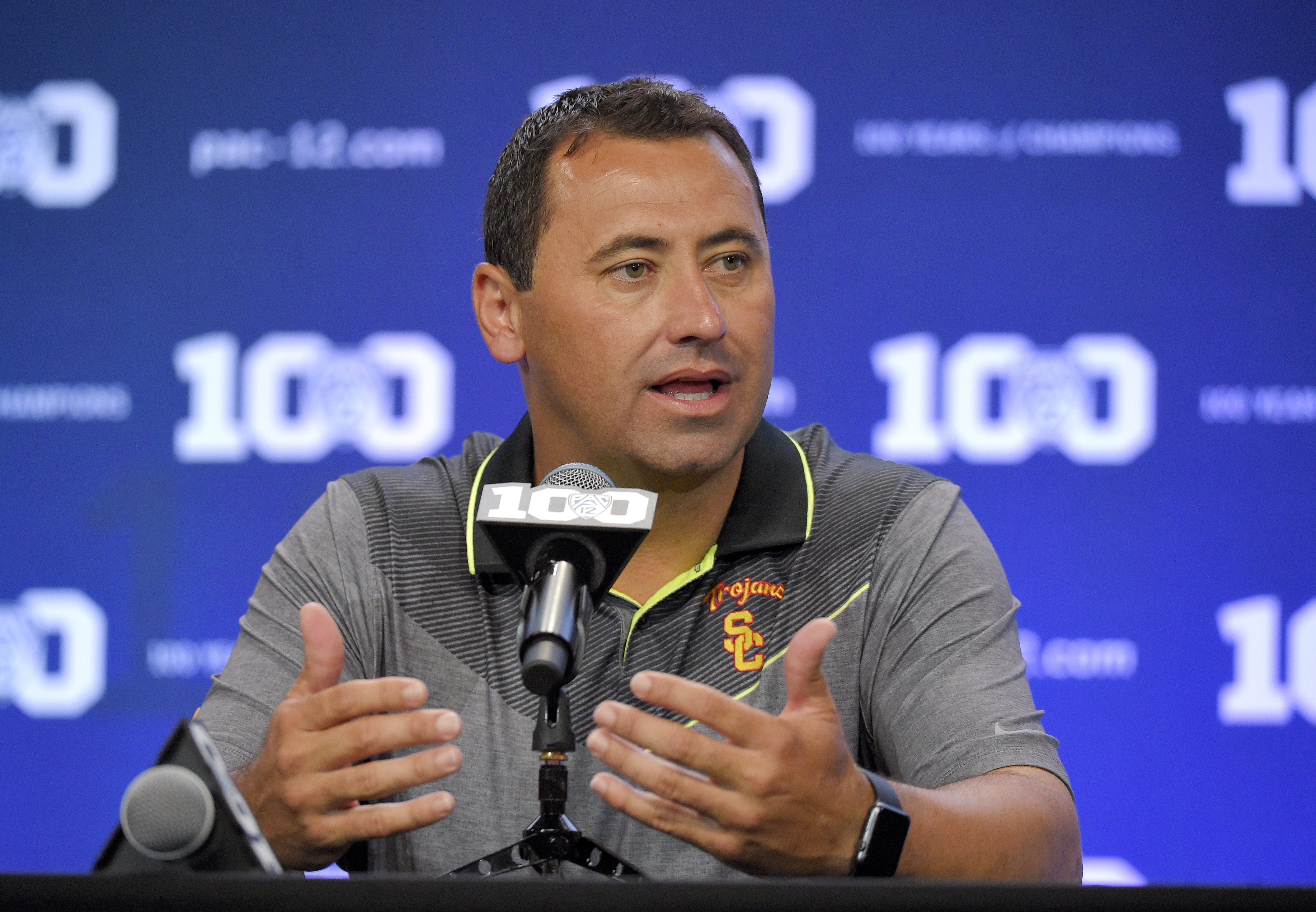Southern California head coach Steve Sarkisian speaks to reporters during NCAA college Pac-12 Football Media Days, Friday, July 31, 2015, in Burbank, Calif. (AP Photo/Mark J. Terrill)