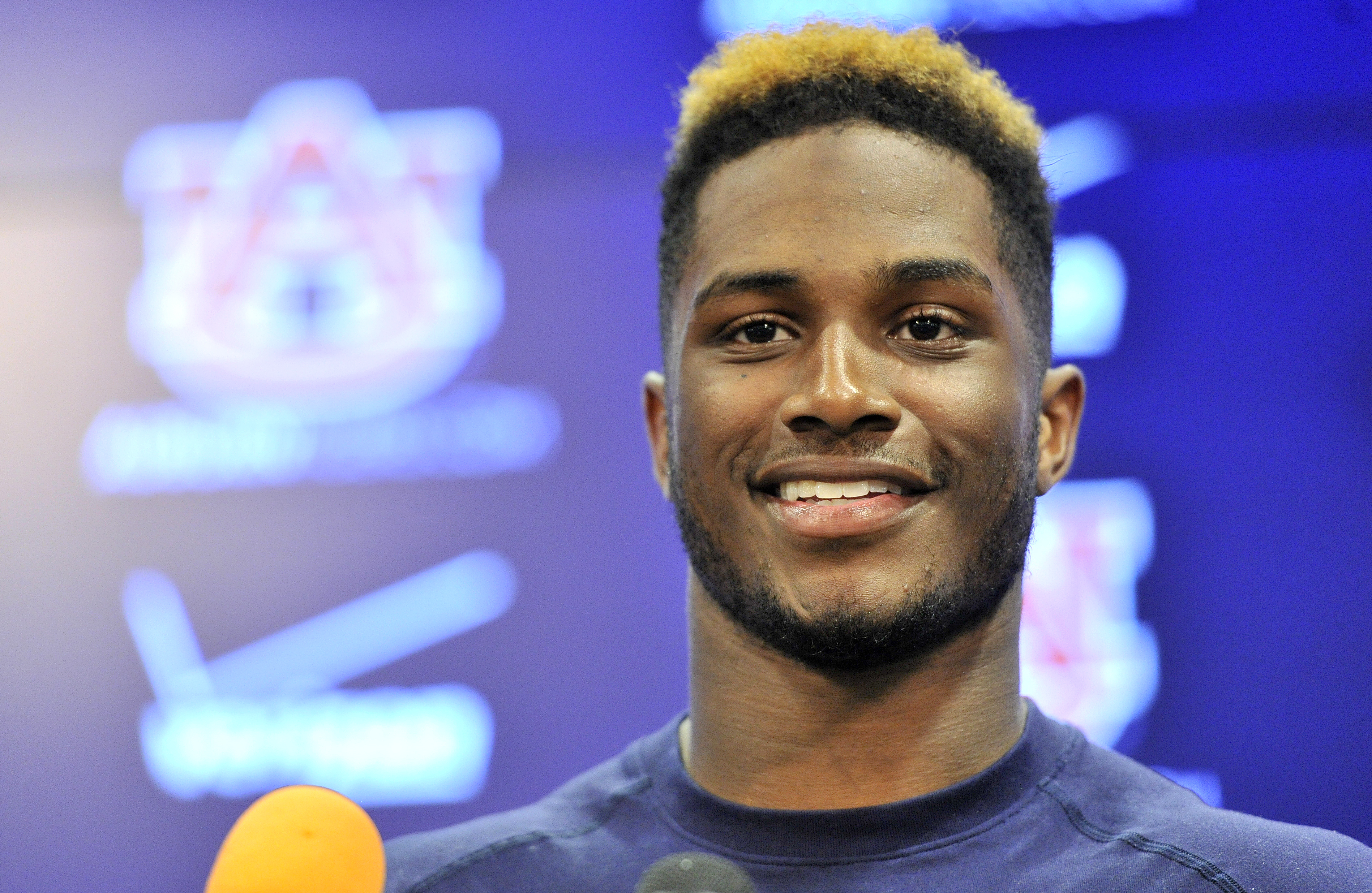 In this photo taken Tuesday, Aug. 25, 2015, Auburn defensive back Blake Countess talks to members of the media after NCAA college football practice in Auburn, Ala. (Julie Bennett/AL.com via AP) MAGAZINES OUT; MANDATORY CREDIT