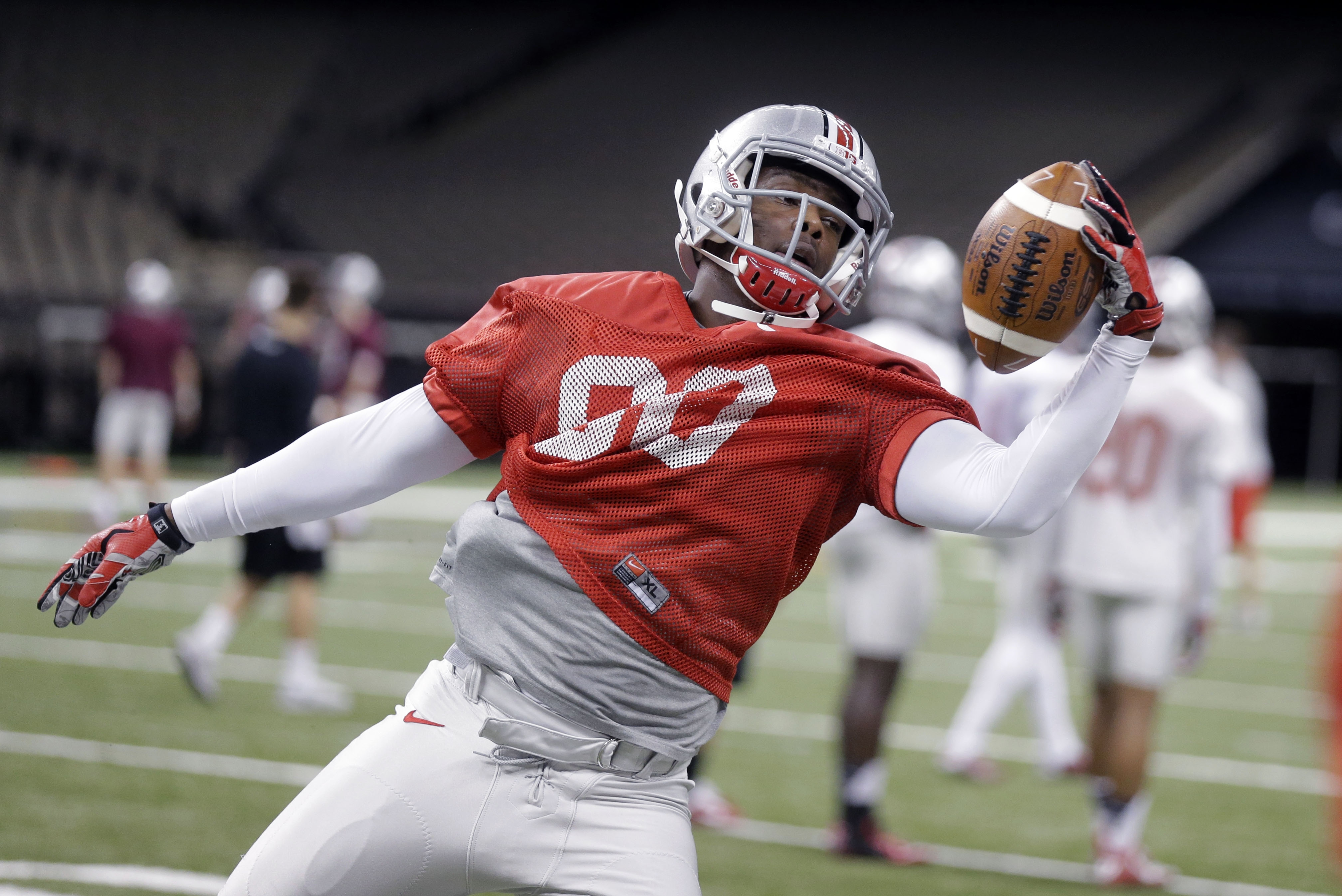 Ohio State wide receiver Noah Brown (80) goes through drills during practice at the Mercedes-Benz Superdome in New Orleans, Monday, Dec. 29, 2014. They will square off against Alabama in the Allstate Sugar Bowl NCAA football game, which will be played Jan