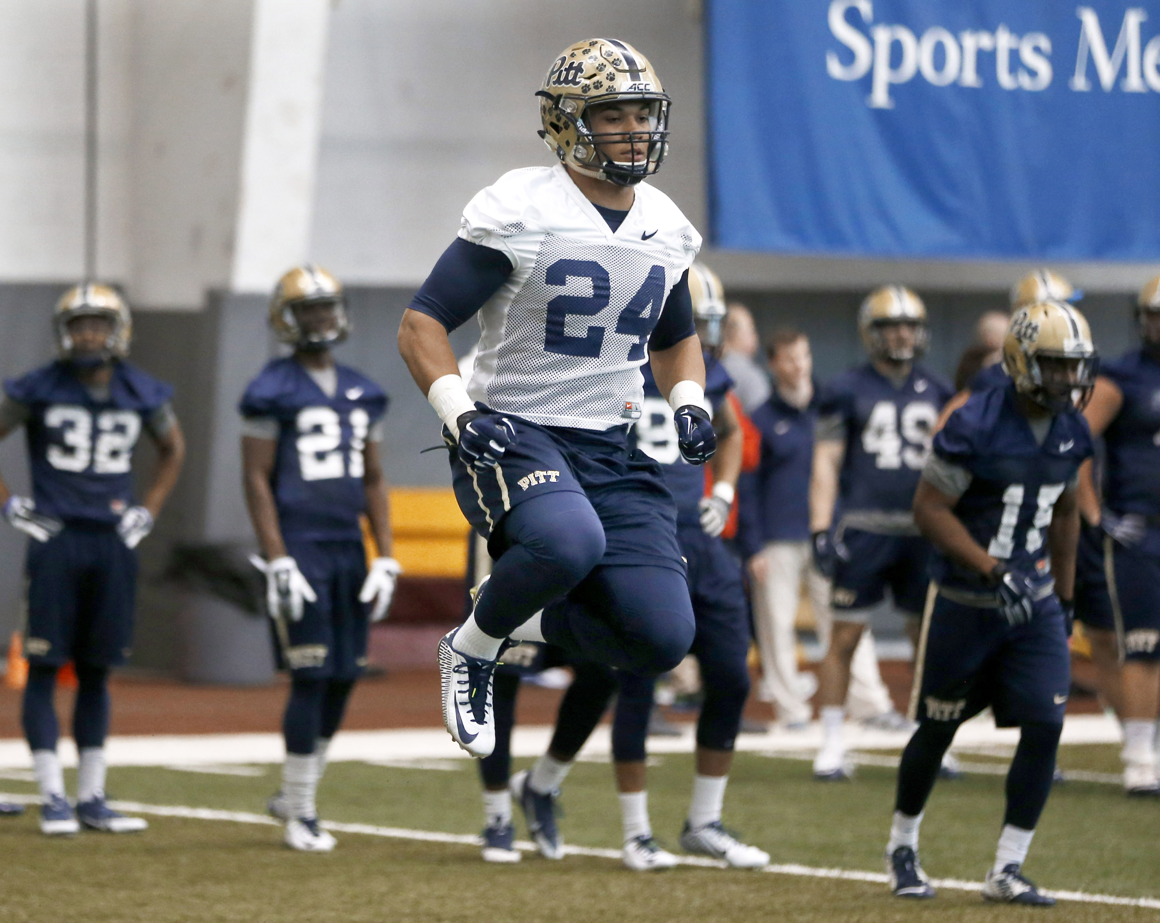 FILE -- In this March 15, 2015, file photo,  Pittsburgh running back James Conner (24) takes part in drills in the NCAA college football team's first day of spring practice in Pittsburgh. The reigning ACC Player of the Year is a star now, one with a slimm