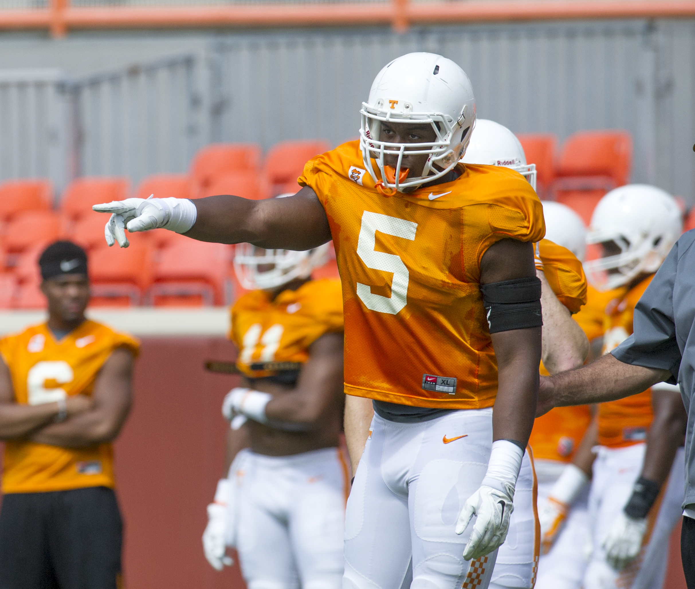 Tennessee freshman defensive lineman Kyle Phillips takes part in NCAA college football practice Saturday, Aug. 22, 2015, in Knoxville, Tenn. Throughout the preseason, Phillips has garnered perhaps as much praise as any member of the Vols' heralded freshma