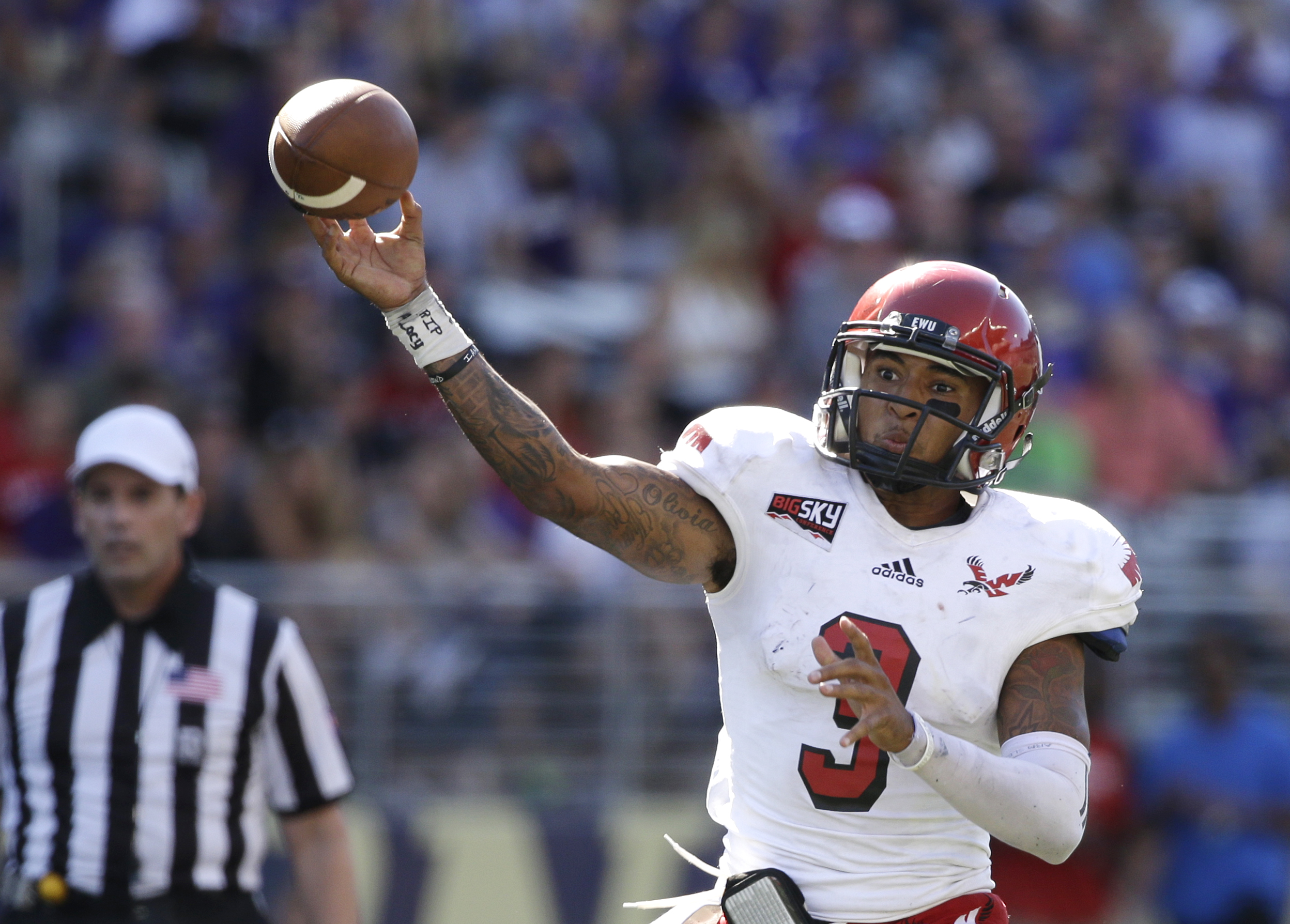 FILE - In this Sept. 6, 2014, file photo, Eastern Washington quarterback Vernon Adams Jr. throws a pass against the Washington Huskies in the second half of an NCAA college football game  in Seattle, Wash. It's not lost on Oregon that Vernon Adams' first