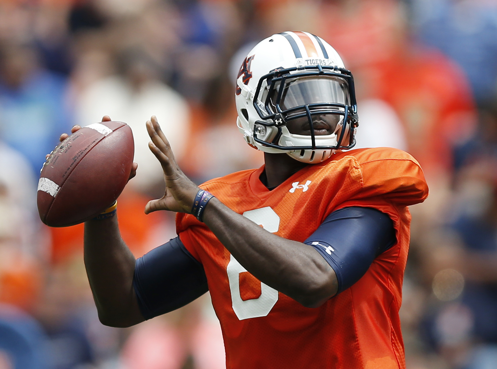 FILE - In this April 18, 2015, file photo, Auburn quarterback Jeremy Johnson (6) looks to pass during the first half of their spring NCAA college football game in Auburn, Ala. Auburn constructed a formidable ground game on quarterback runs and seemingly t
