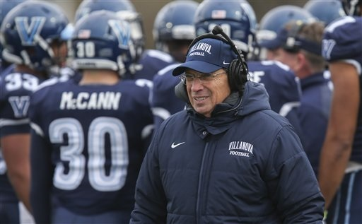Villanova coach Andy Talley during an FCS quarterfinal NCAA college football game with Sam Houston State, Saturday, Dec. 13, 2014, in Villanova. (AP Photo/Laurence Kesterson)