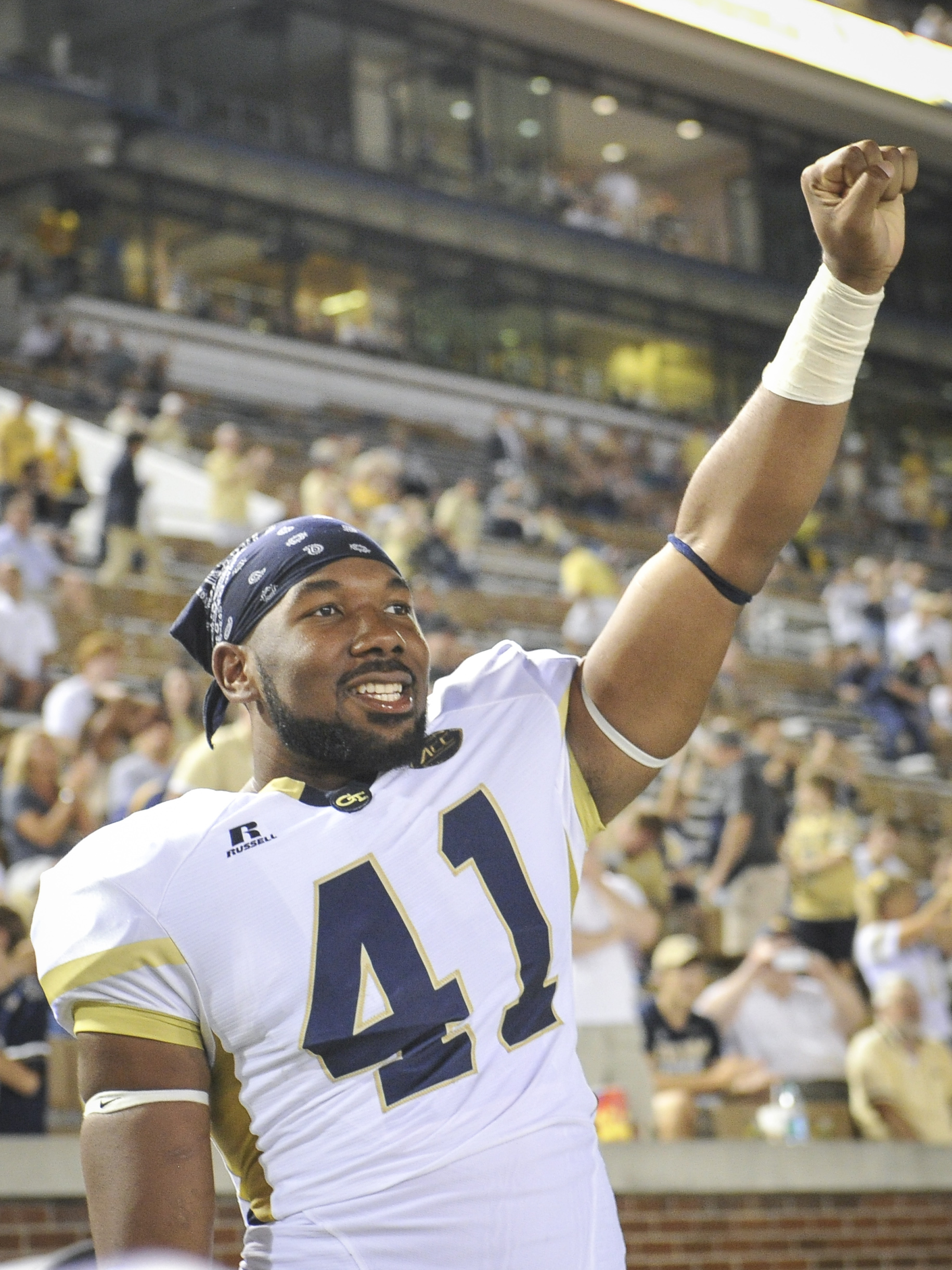 Georgia Tech defensive end Rod Rook-Chungong (41) celebrates as an NCAA college football game against Alcorn State comes to an end, Thursday, Sept. 3, 2015, in Atlanta. Georgia Tech won 69-6. (AP Photo/John Amis)