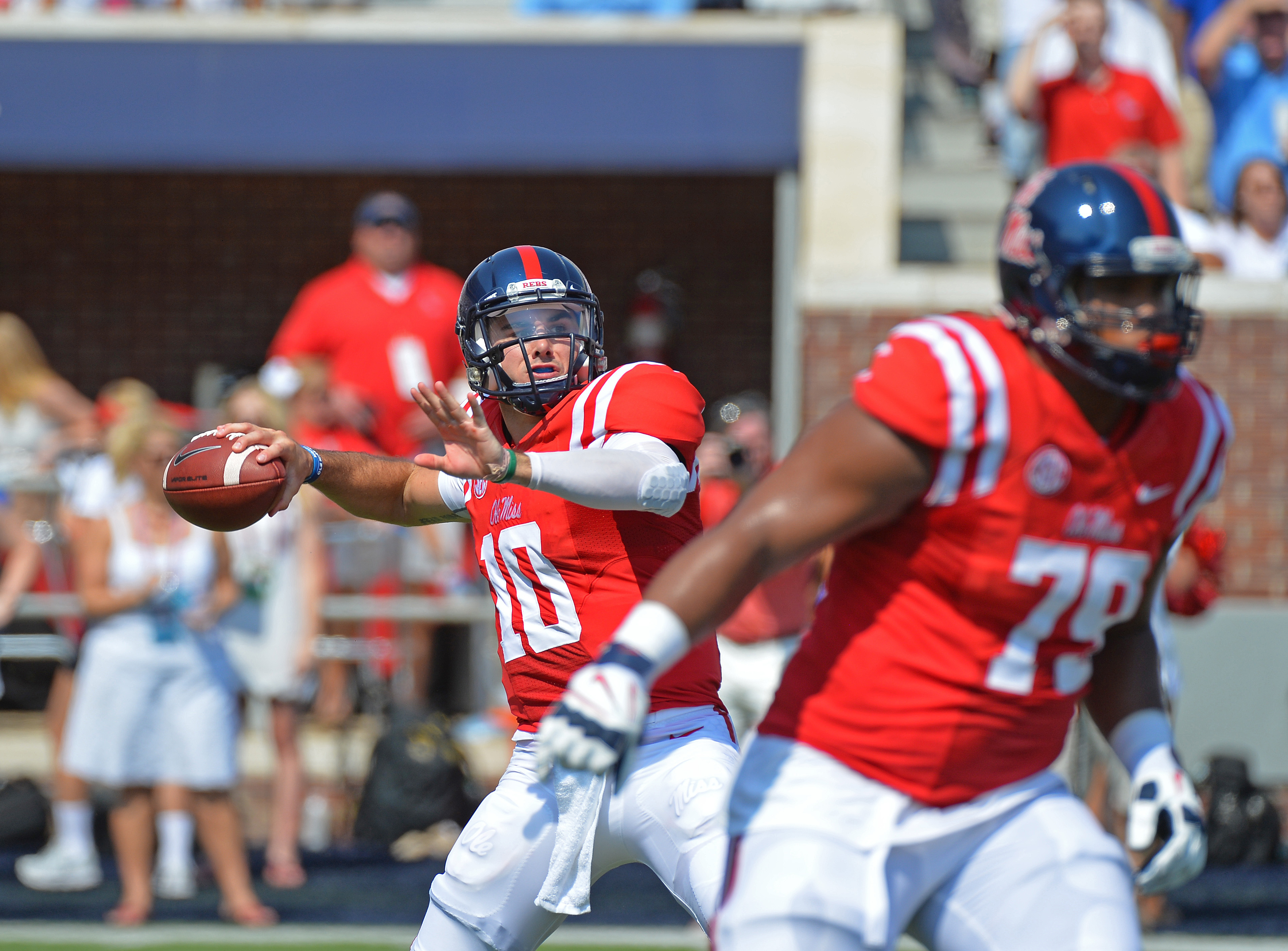 Mississippi quarterback Chad Kelly (10) releases a pass during the first quarter of an NCAA college football game against Tennessee-Martin in Oxford, Miss., Saturday, Sept. 5, 2015. (AP Photo/Thomas Graning)