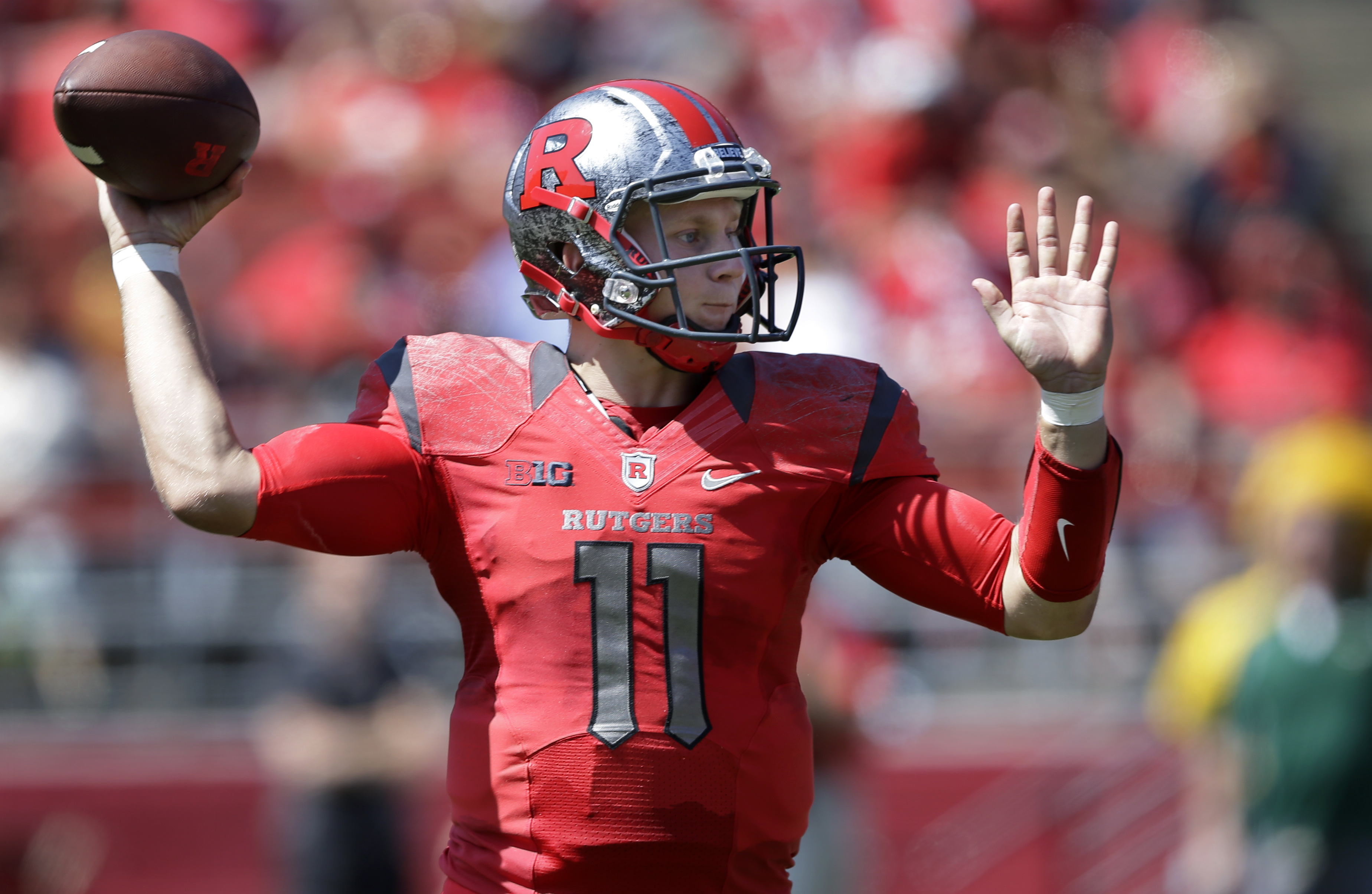 Rutgers quarterback Hayden Rettig (11) throws a pass during the first half of an NCAA college football game against Norfolk State Saturday, Sept. 5, 2015, in Piscataway, N.J. (AP Photo/Mel Evans)