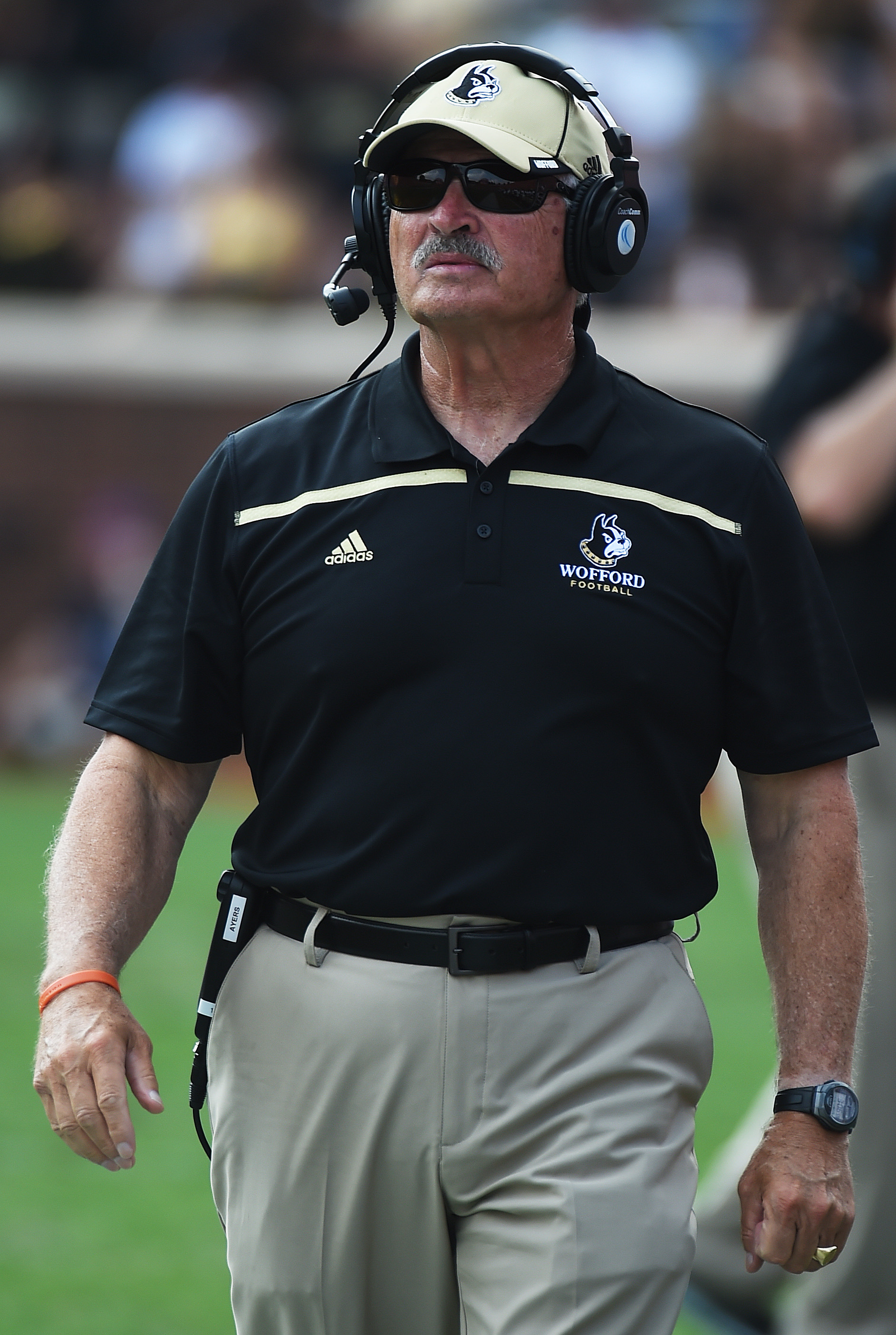 Wofford head coach Mike Ayers walks on the sideline during the second half of an NCAA college football game against Clemson on Saturday, Sept. 5, 2015, in Clemson, S.C.  (AP Photo/Rainier Ehrhardt)