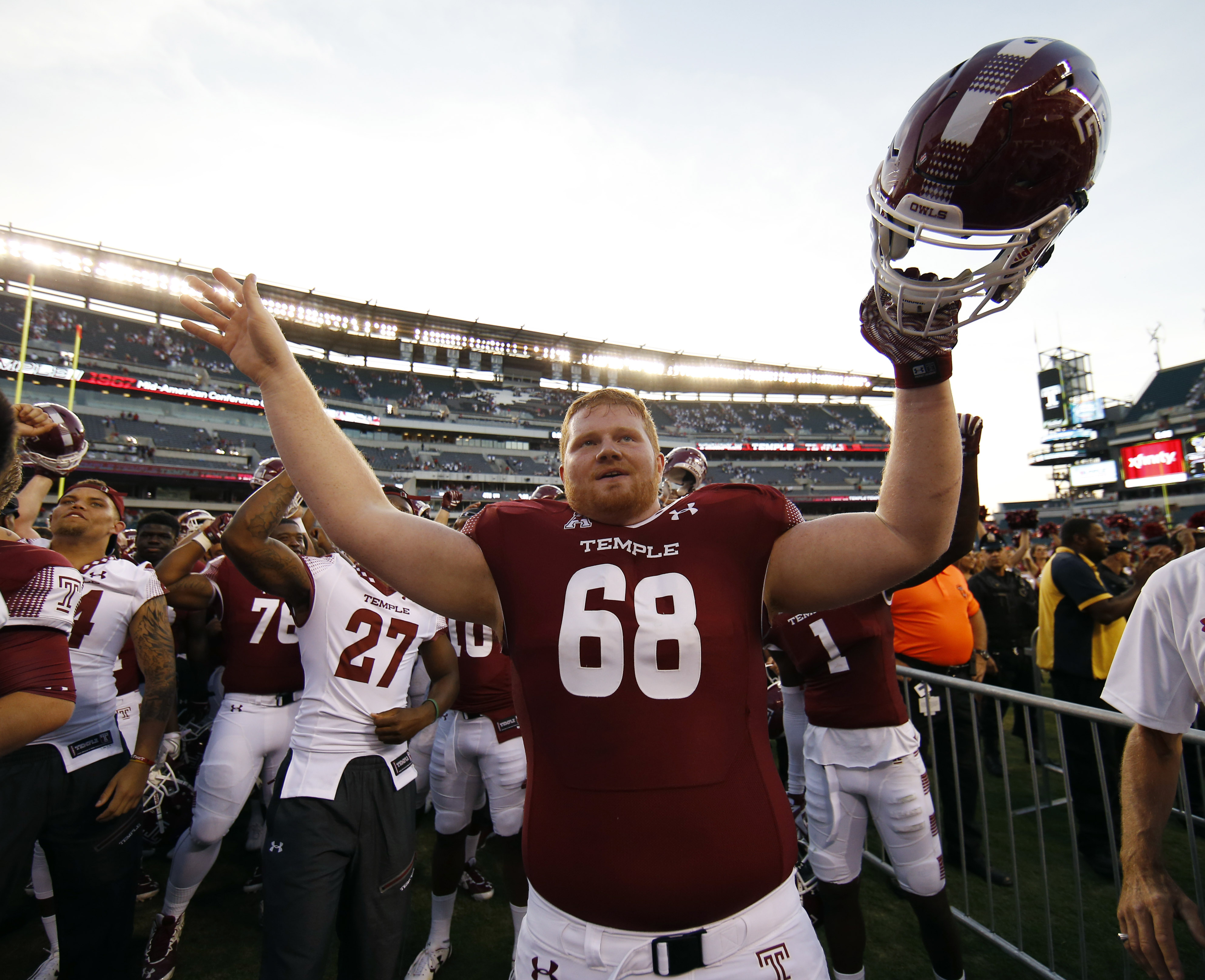 Temple's Brendan McGowan celebrates after their 27-10 win over Penn State in an NCAA college football game, Saturday, Sept. 5, 2015, in Philadelphia. (AP Photo/Matt Slocum)
