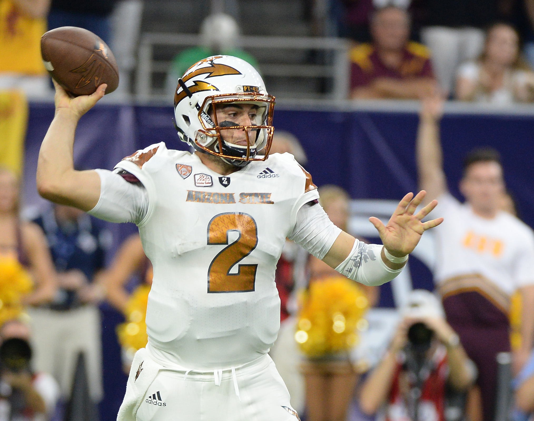 Arizona State quarterback Mike Bercovici (2) makes a pass against Texas A&M in the first half of an NCAA college football game on Saturday, Sept. 5, 2015, in Houston, Texas. (AP Photo/George Bridges)
