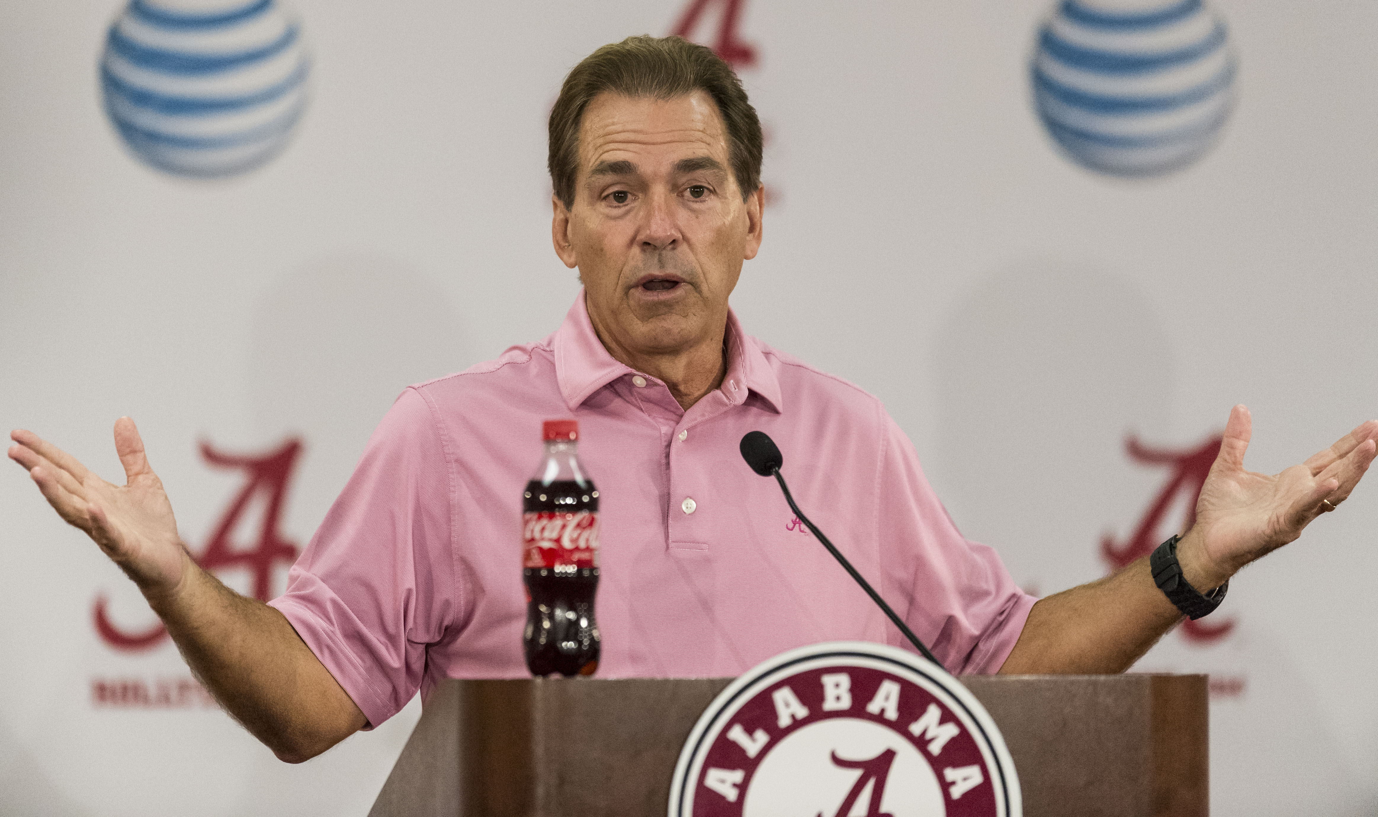 Alabama NCAA college football coach Nick Saban talks with the media at his weekly press conference, Monday, Sep. 7, 2015,  in Tuscaloosa, Ala.  (Vasha Hunt/AL.com via AP) MAGS OUT; MANDATORY CREDIT