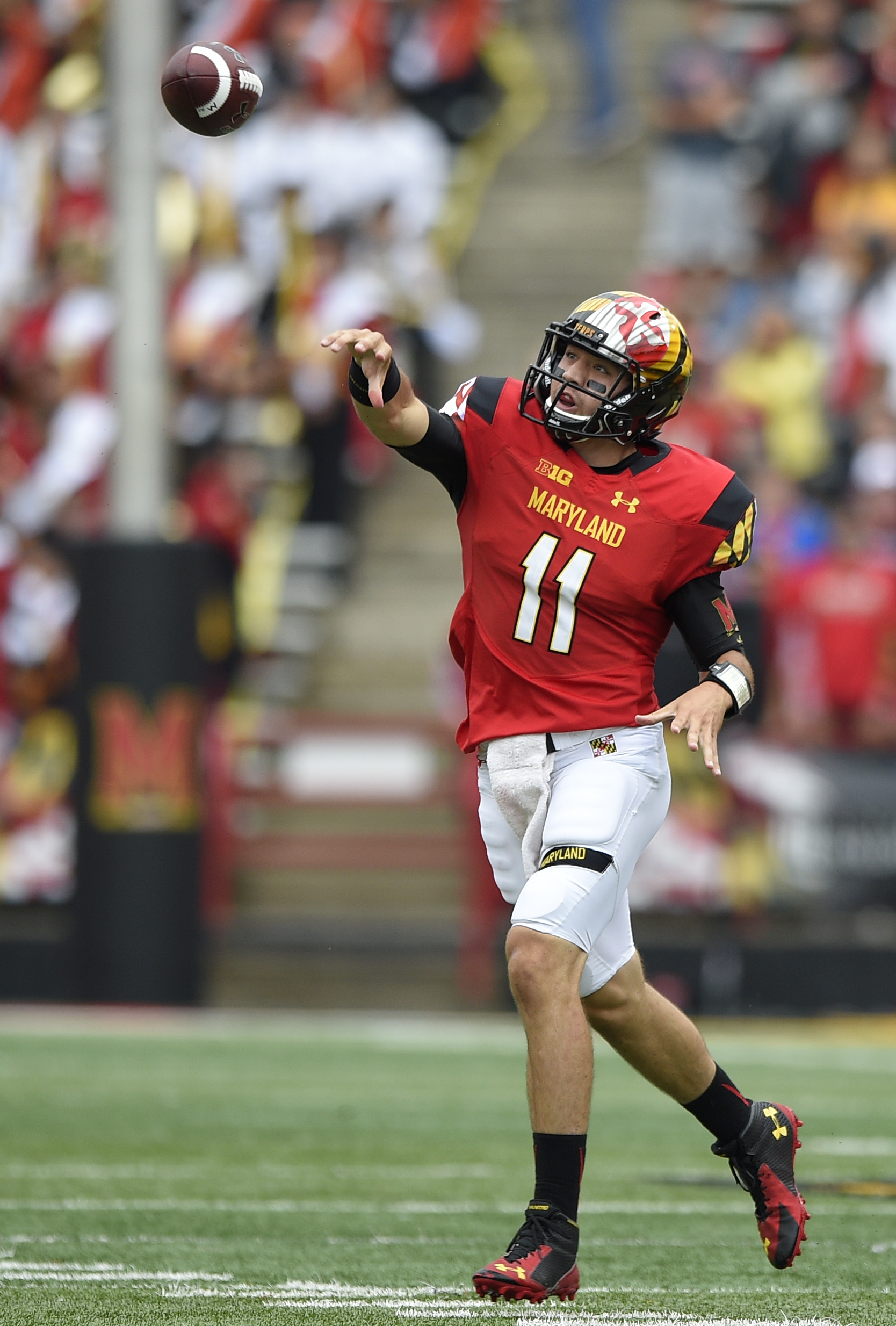 Maryland quarterback Perry Hills (11) throws a pass during the first half of an NCAA college football game against Bowling Green, Saturday, Sept. 12, 2015, in College Park, Md. (AP Photo/Nick Wass)