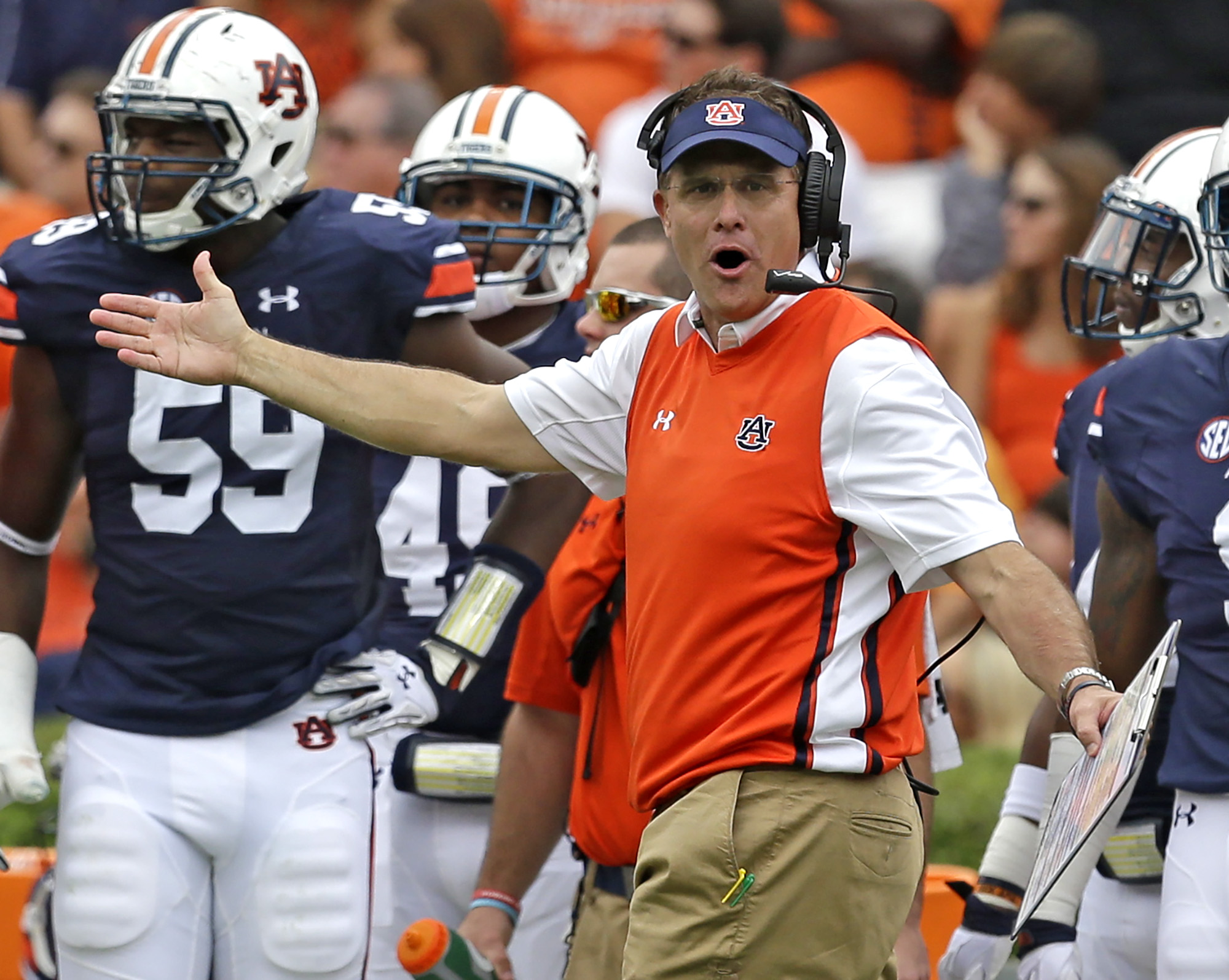 Auburn head coach Gus Malzahn reacts to a targeting call during the first half of an NCAA college football game against Jacksonville State, Saturday, Sept. 12, 2015, in Auburn, Ala. (AP Photo/Butch Dill)