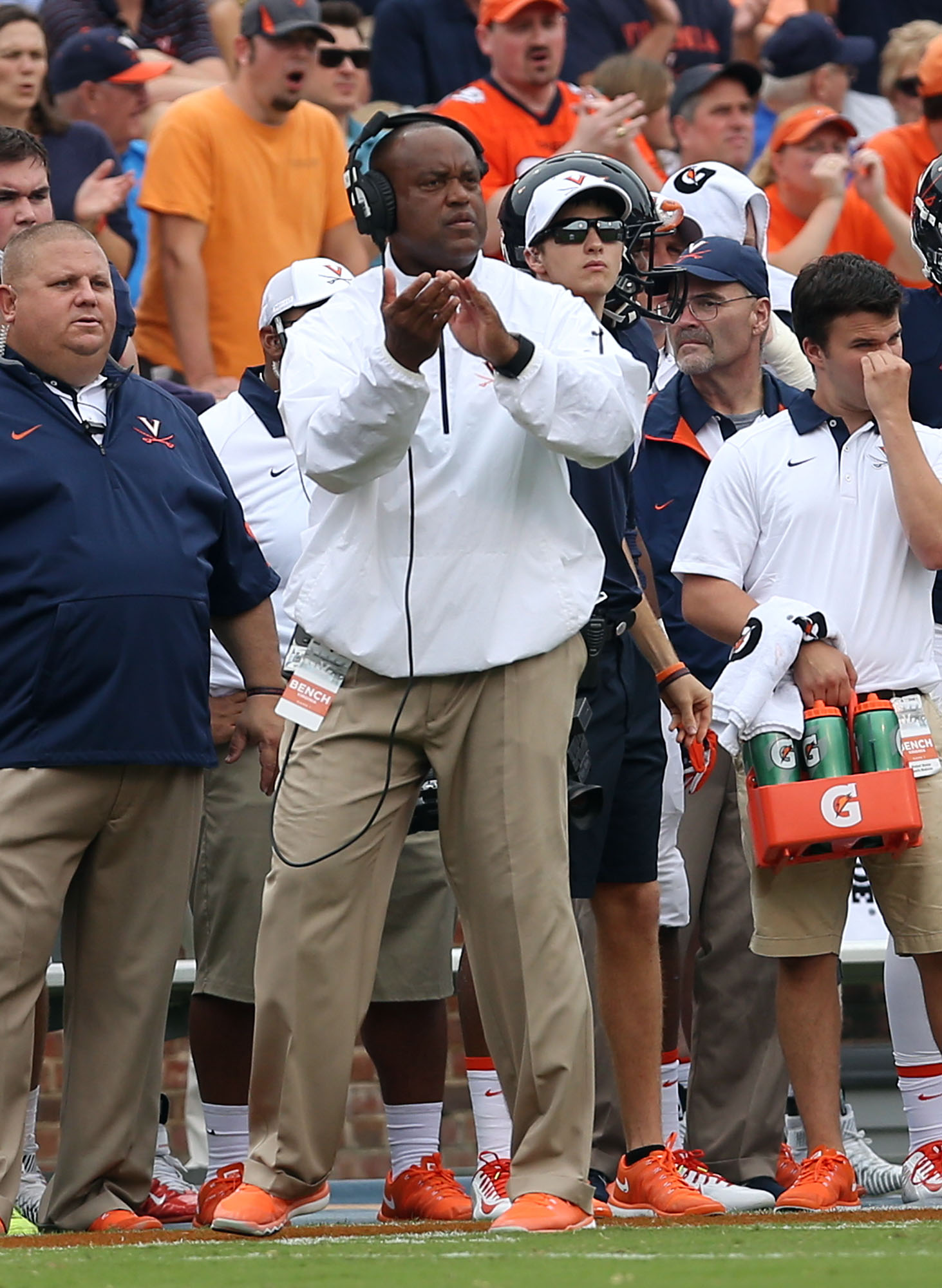 Virginia head coach Mike London reacts to a play during an NCAA college football game against Notre Dame, Saturday, Sept. 12, 2015, in Charlottesville, Va. (AP Photo/Andrew Shurtleff)