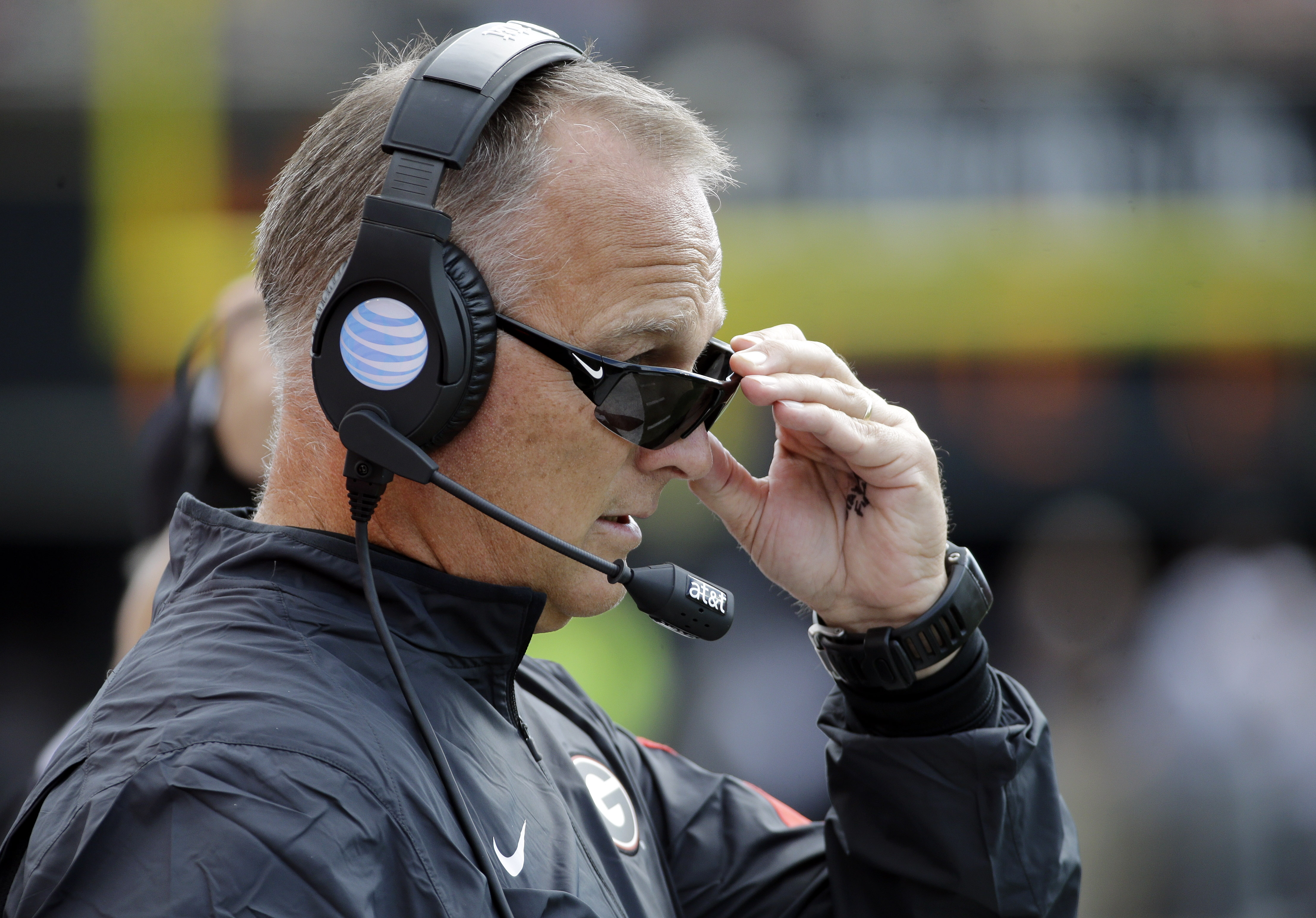Georgia head coach Mark Richt watches the action from the sideline in the first half of an NCAA college football game against Vanderbilt Saturday, Sept. 12, 2015, in Nashville, Tenn. (AP Photo/Mark Humphrey)