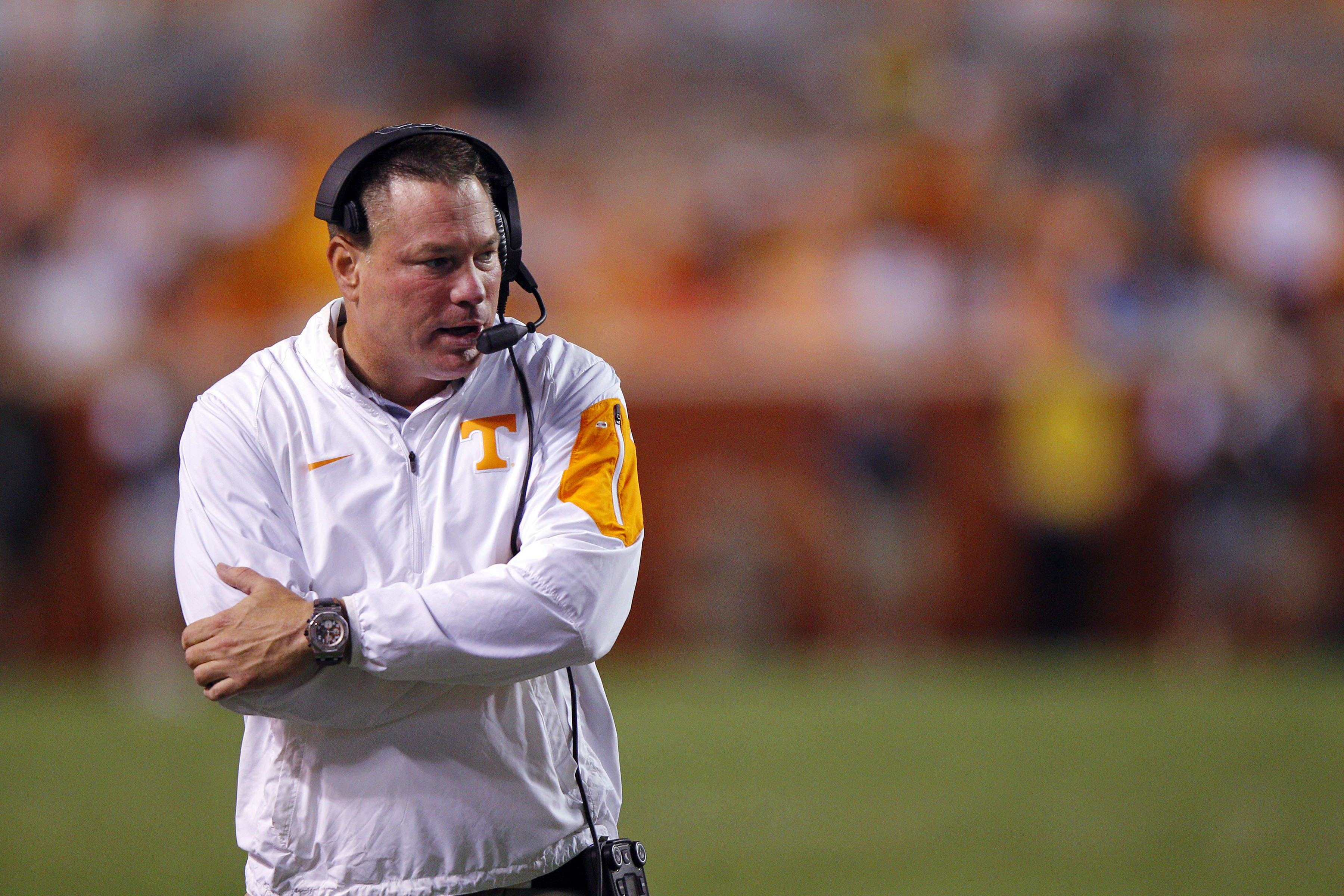 Tennessee head coach Butch Jones looks on from the sideline of an NCAA college football game against Oklahoma, Saturday, Sept. 12, 2015 in Knoxville, Tenn. Oklahoma won 31-24 in double overtime. (AP Photo/Wade Payne)