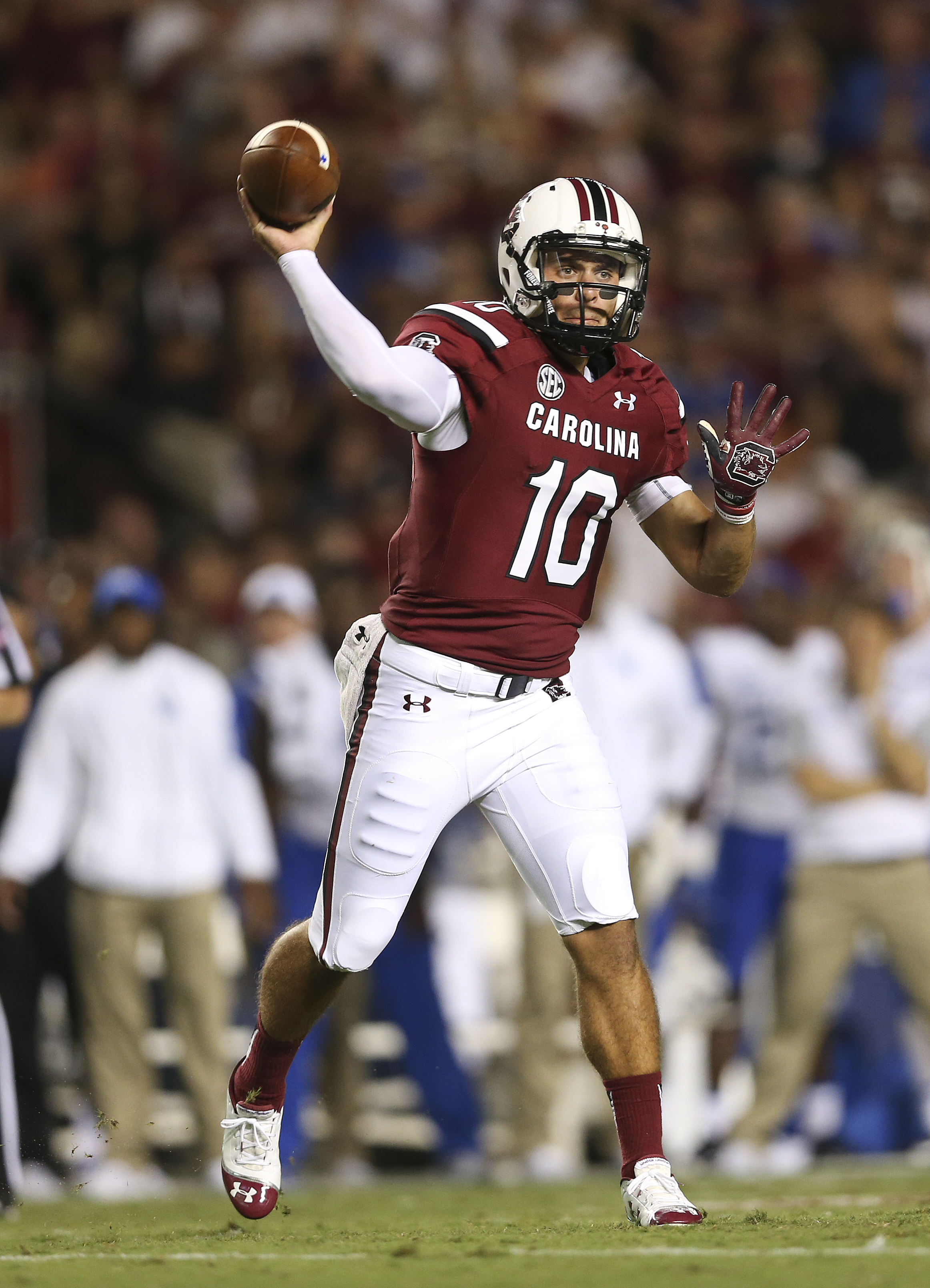 FILE- In this Saturday, Sept. 12, 2015, South Carolina quarterback Perry Orth (10) throws in the first half of an NCAA college football game against Kentucky in Columbia, S.C. Orth looks calm and unperturbed as he prepares for his first college start when