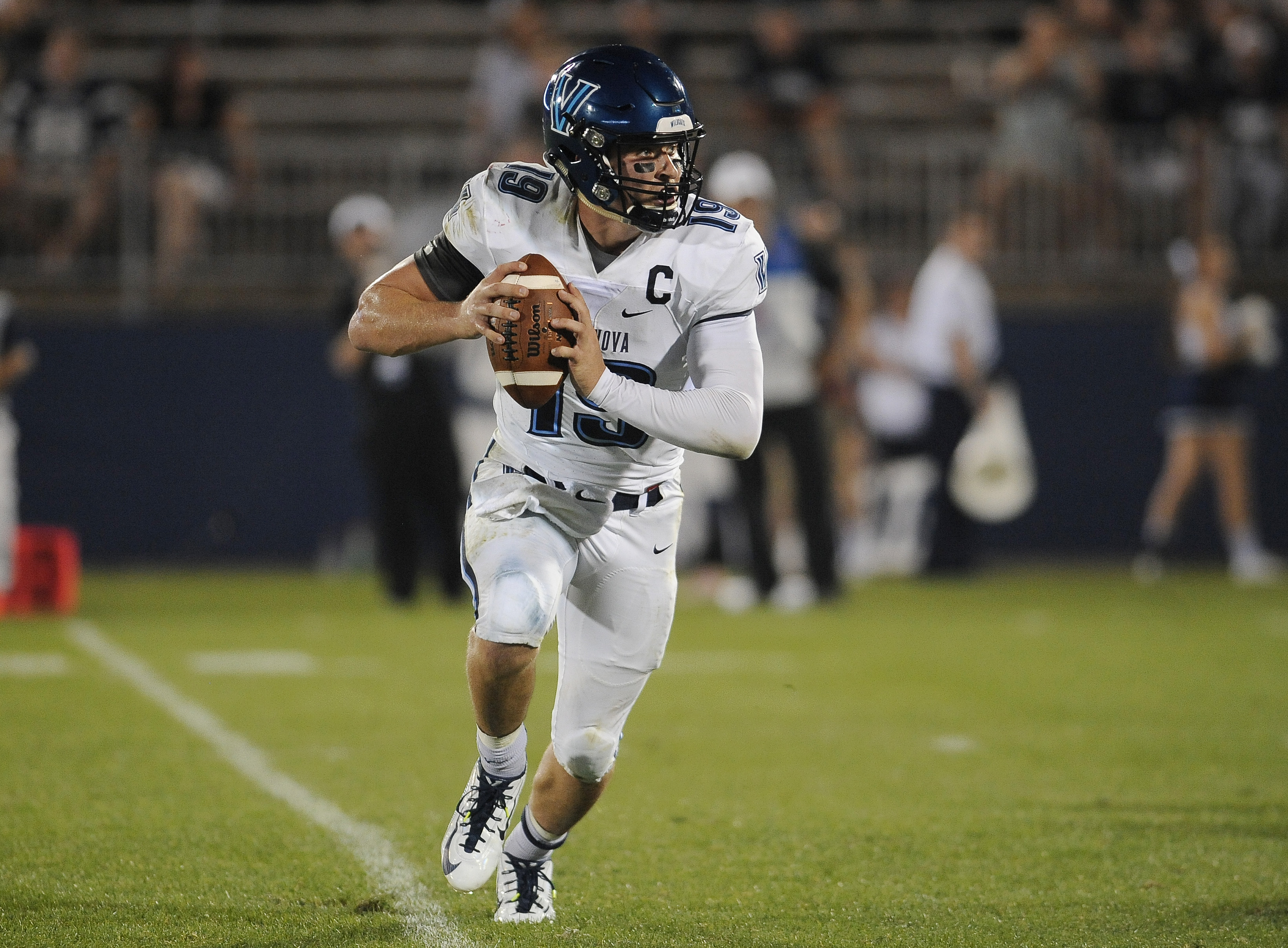 Villanova quarterback John Robertson (19) during the second half of an NCAA college football game at Pratt & Whitney Stadium at Rentschler Field against Connecticut, Thursday, Sept. 3, 2015, in East Hartford, Conn. UConn won 20-15. (AP Photo/Jessica Hill)