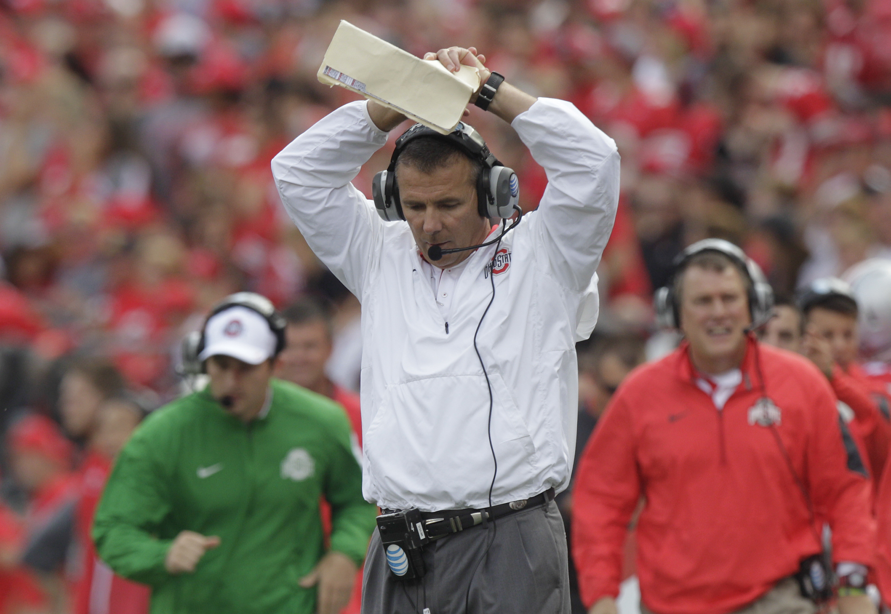 Ohio State head coach Urban Meyer reacts to missing a fourth down conversion against Northern Illinois during the second quarter of an NCAA college football game Saturday, Sept. 19, 2015, in Columbus, Ohio. Ohio State won 20-13. (AP Photo/Jay LaPrete)