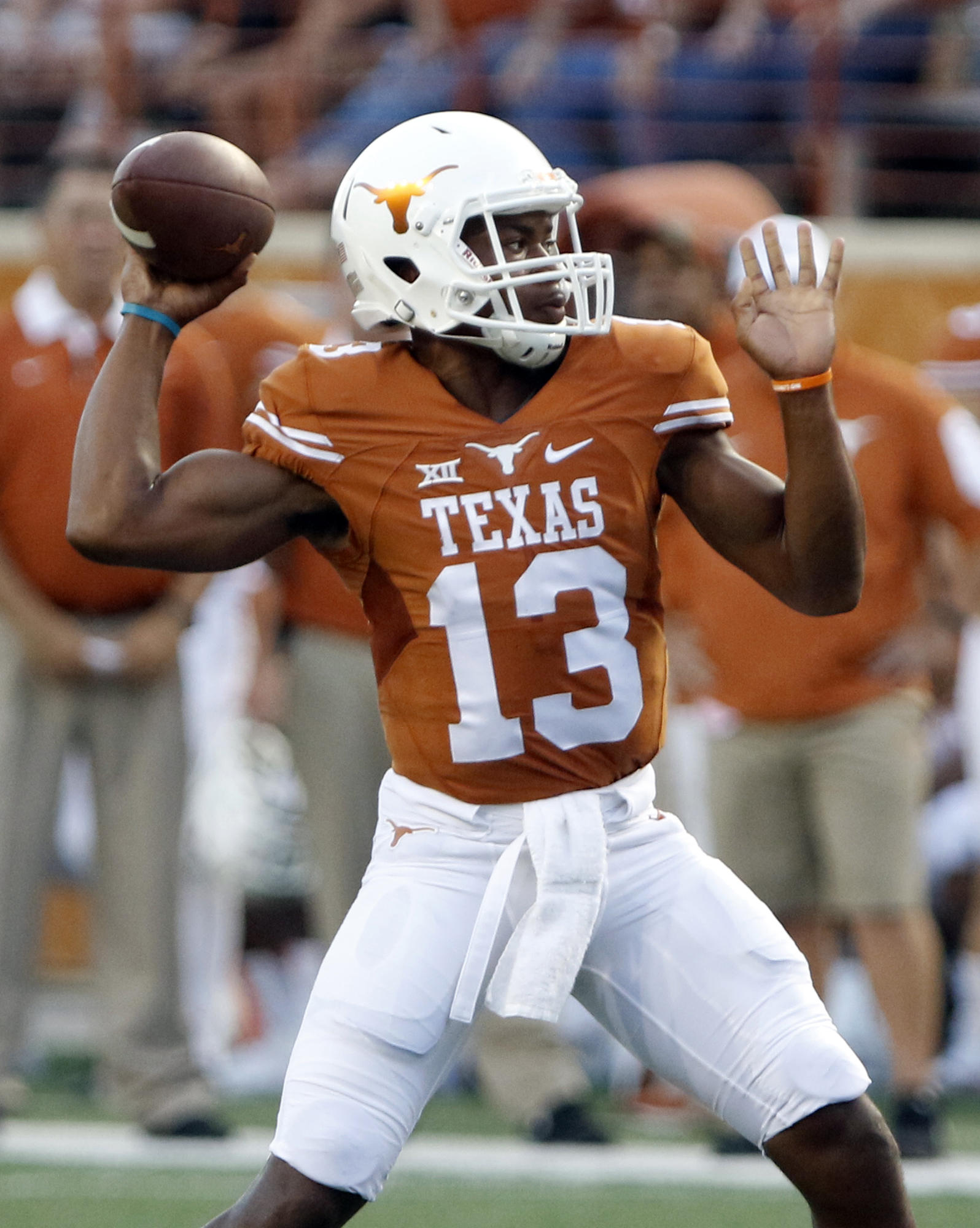 FILE - In this Sept. 19, 2015, file photo, Texas quarterback Jerrod Heard passes during the first half of an NCAA college football game against California in Austin, Texas. The Longhorns may have found their quarterback of the future in the redshirt fresh