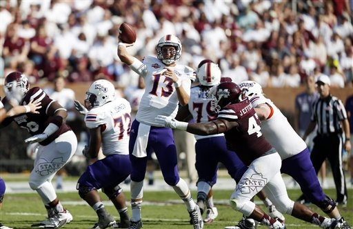Northwestern State quarterback Stephen Rivers (13) passes against Mississippi State during the first half of an NCAA college football game, Saturday, Sept. 19, 2015 in Starkville, Miss. Mississippi State won 62-13. (AP Photo/Rogelio V. Solis)