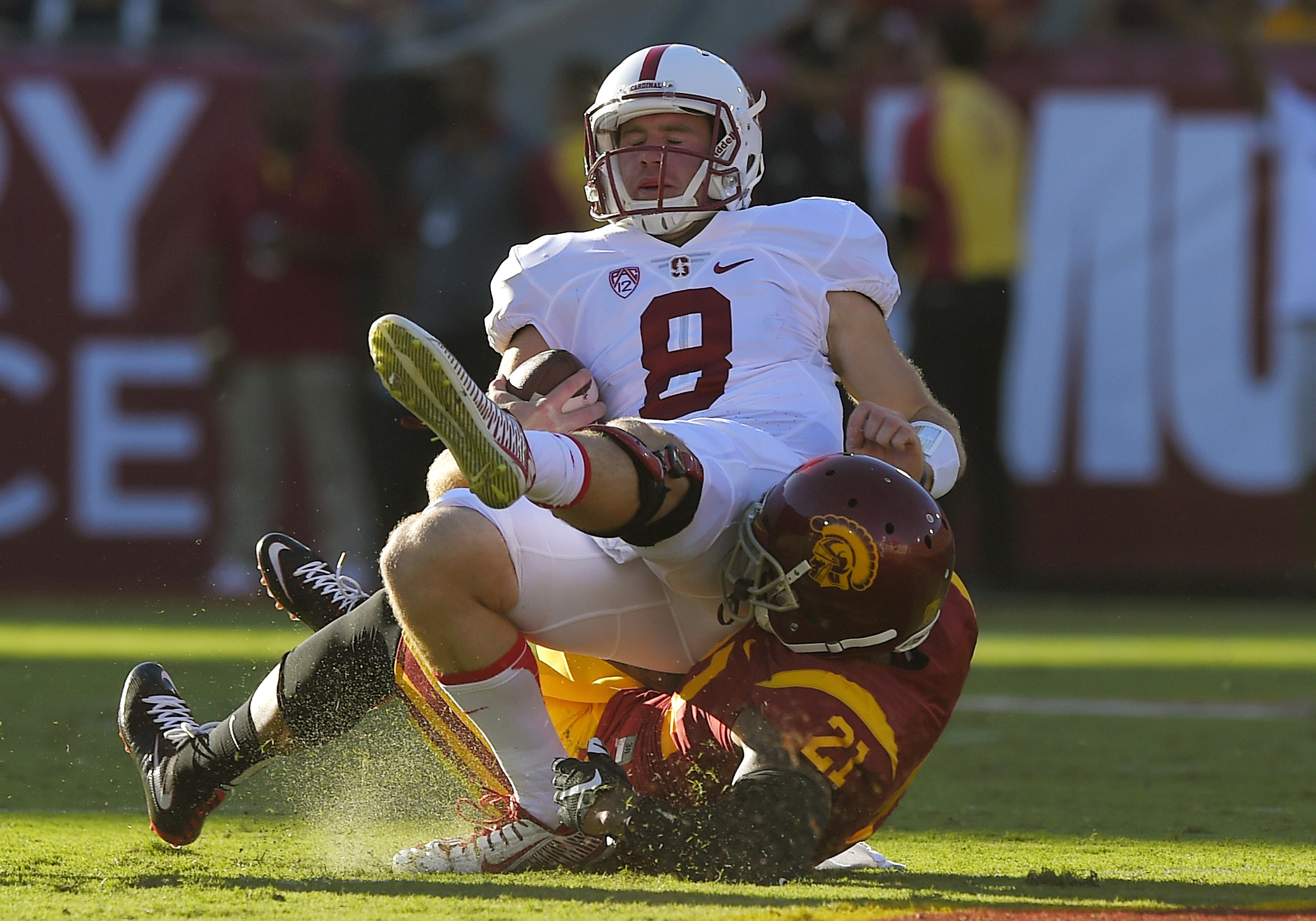 FILE - In this Sept. 19, 2015, file photo, Stanford quarterback Kevin Hogan, top, is sacked by Southern California linebacker Su'a Cravens during an NCAA college football game in Los Angeles  Even if Stanford doesn't have quarterback Hogan, Oregon State s