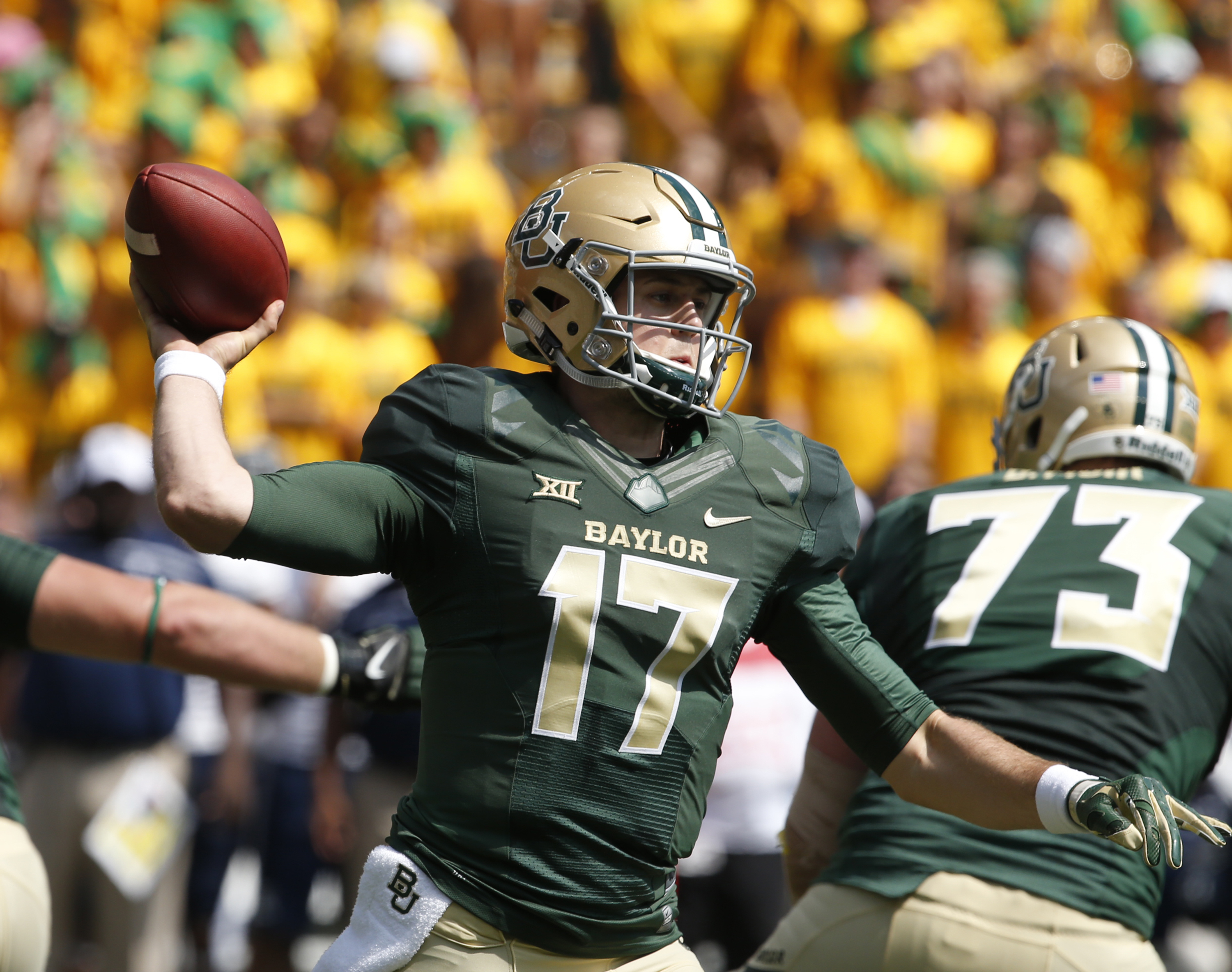 Baylor quarterback Seth Russell (17) throws down field against Rice in the first half of an NCAA college football game, Saturday, Sept. 26, 2015, in Waco, Texas. (AP Photo/Rod Aydelotte)