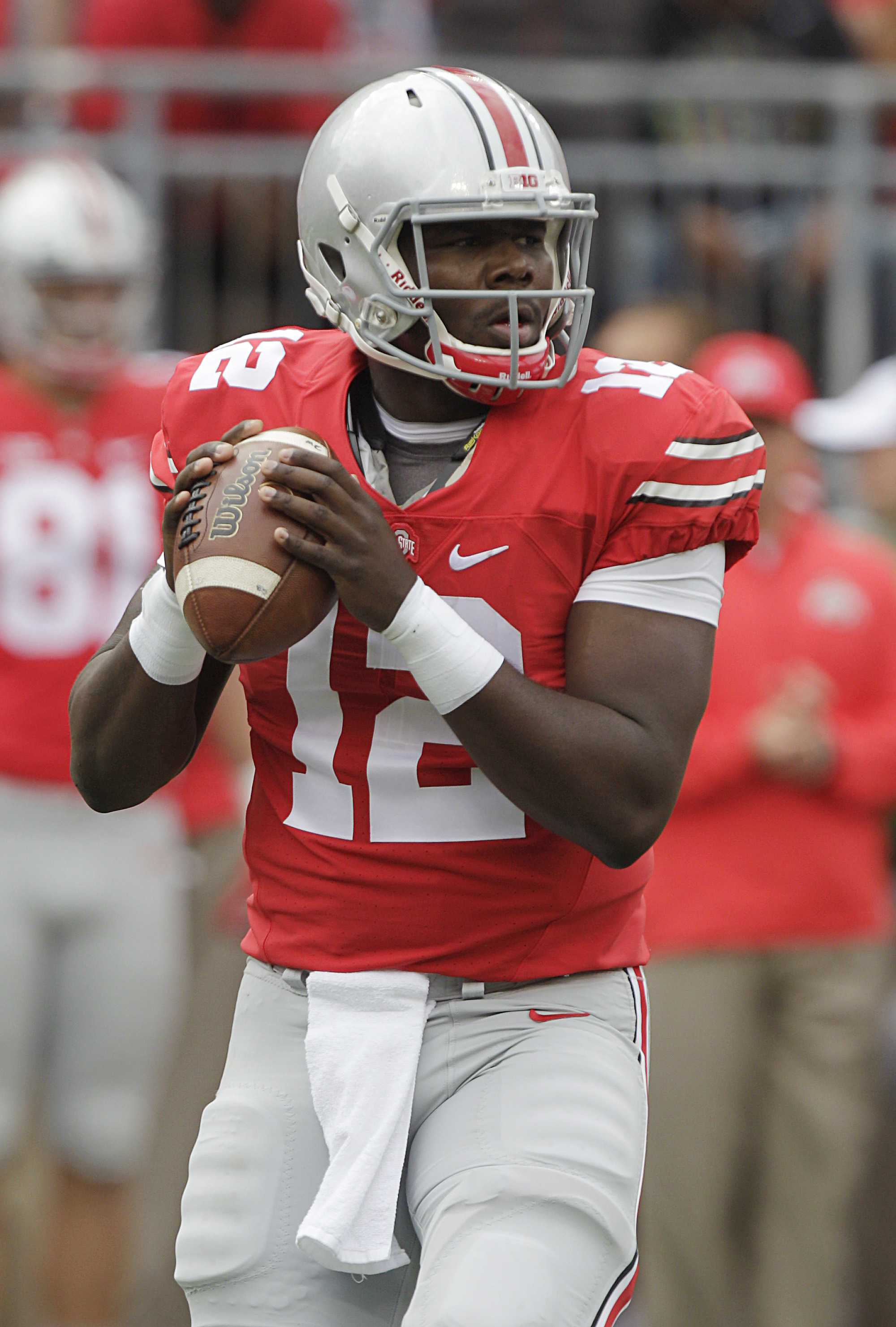Ohio State quarterback Cardale Jones drops back to pass against Western Michigan during the first quarter of an NCAA college football game, Saturday, Sept. 26, 2015, in Columbus, Ohio. (AP Photo/Jay LaPrete)