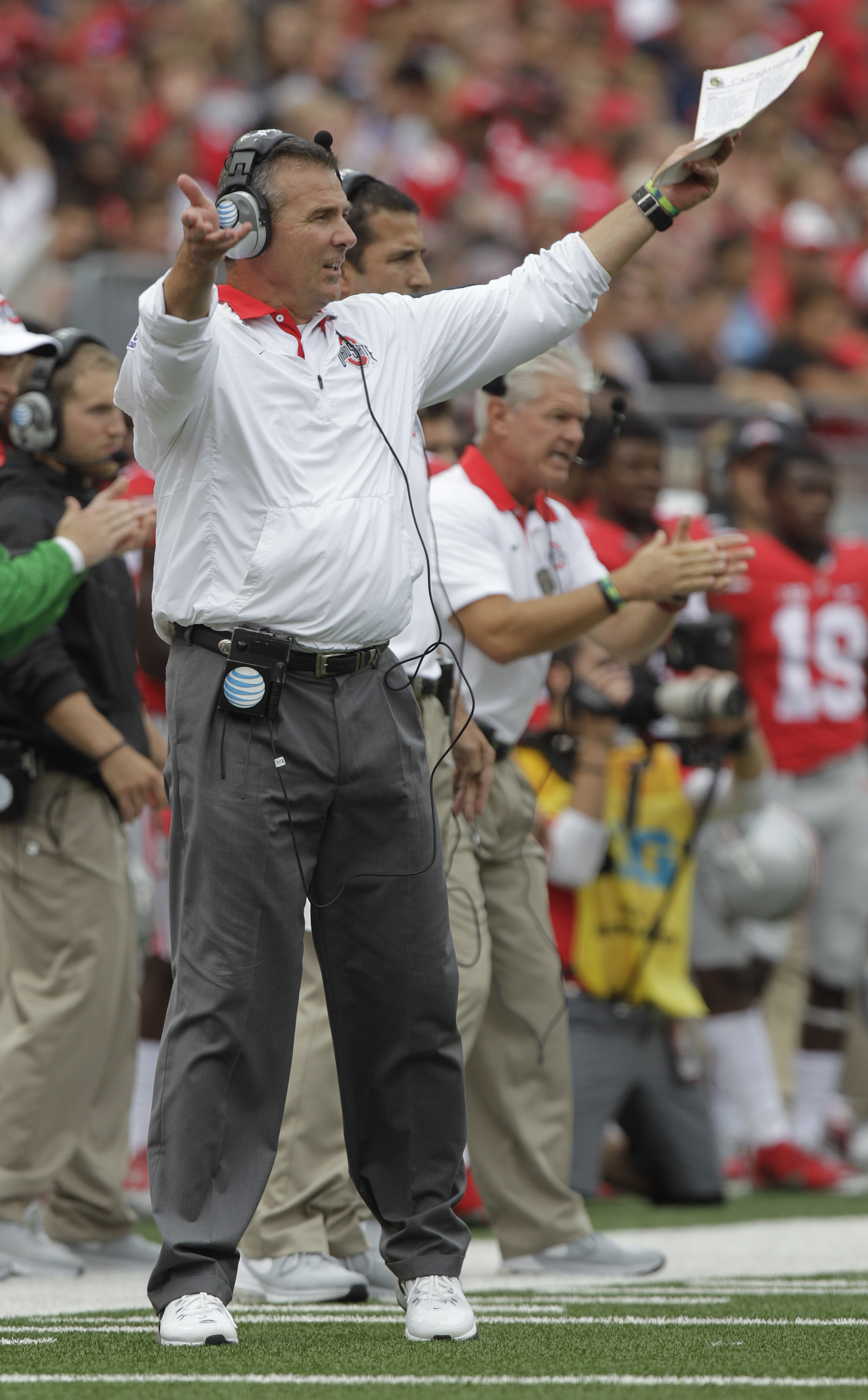 Ohio State head coach Urban Meyer shouts to his team during the first quarter of their NCAA college football game against Western Michigan, Saturday, Sept. 26, 2015, in Columbus, Ohio. (AP Photo/Jay LaPrete)