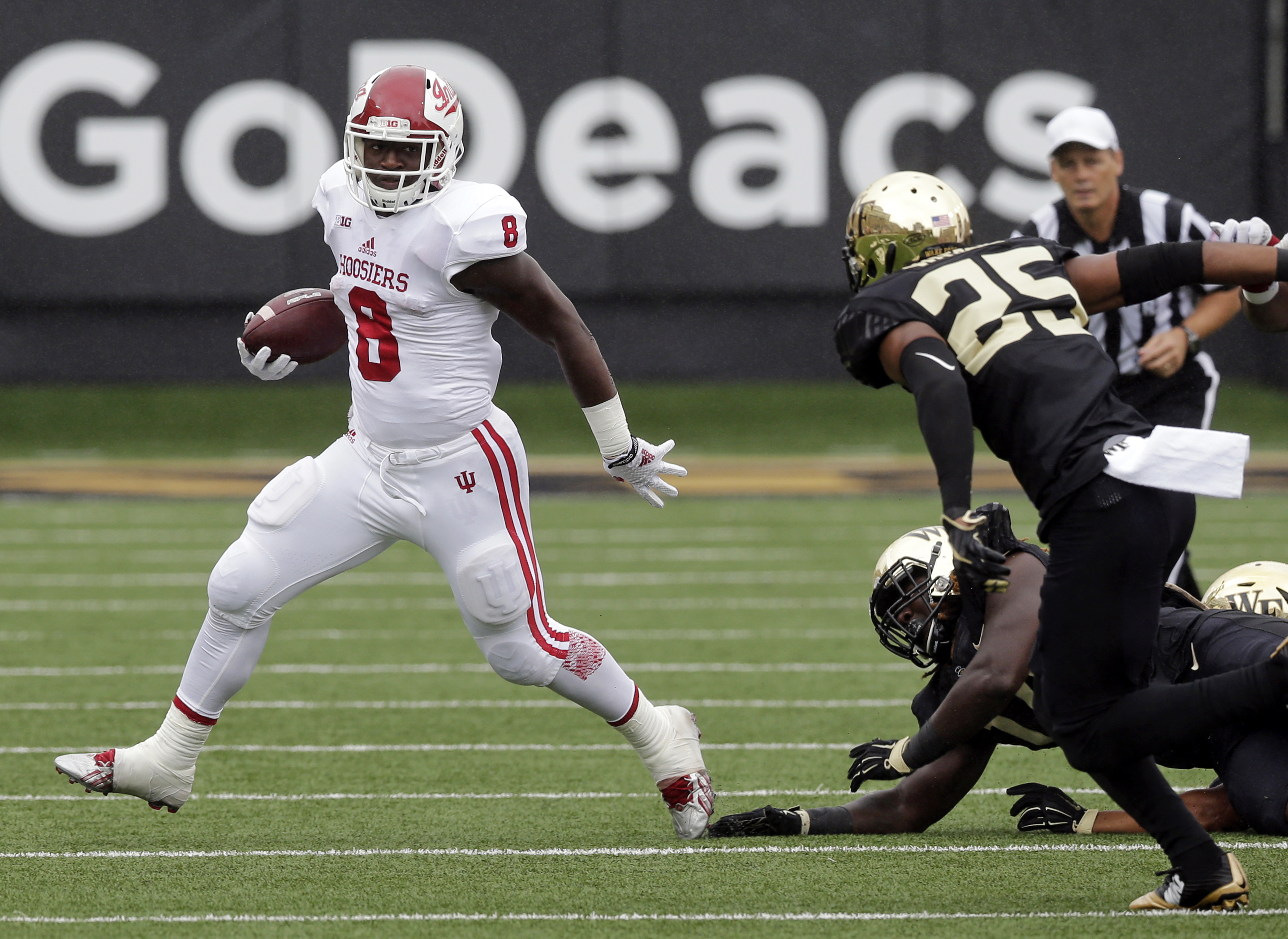 FILE - In this Sept. 26, 2015, file photo, Indiana's Jordan Howard (8) runs against Wake Forest during the first half of an NCAA college football game in Winston-Salem, N.C. This Saturday, Oct. 3, sets up as the biggest of the season so far in college foo