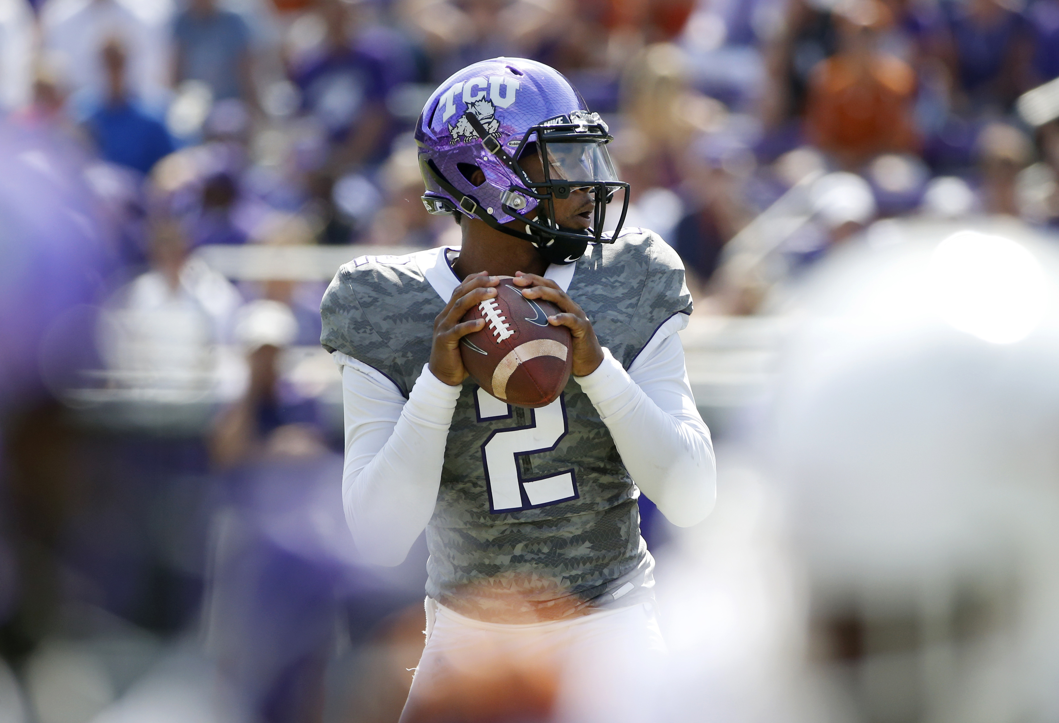 TCU quarterback Trevone Boykin (2) looks to throw against Texas in a NCAA college football game Saturday, Oct. 3, 2015, in Fort Worth, Texas. (AP Photo/Ron Jenkins)