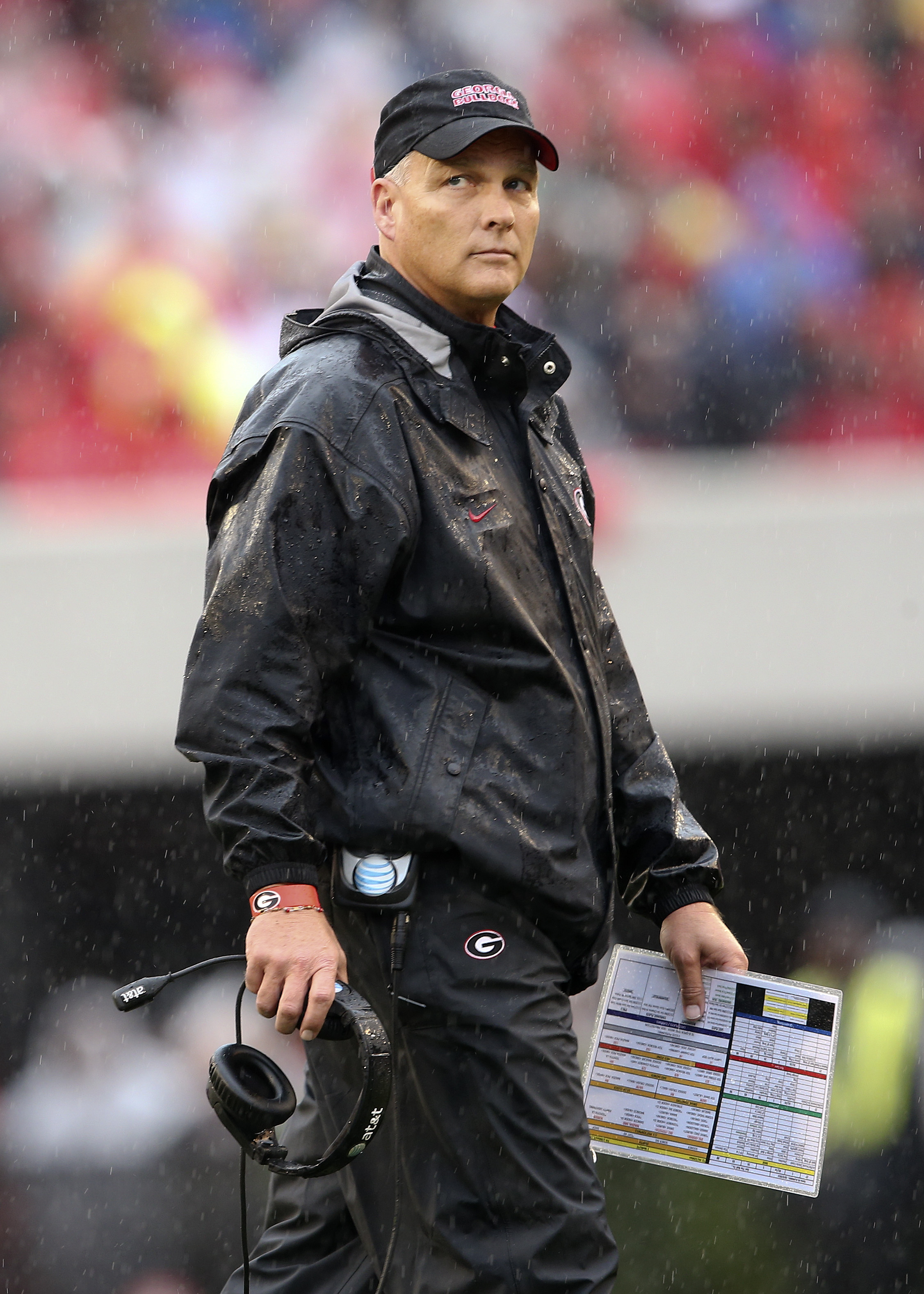 Georgia head coach Mark Richt walks back to the sideline after a timeout in the first half of an NCAA college football game against Alabama, Saturday, Oct. 3, 2015, in Athens, Ga. (AP Photo/John Bazemore)