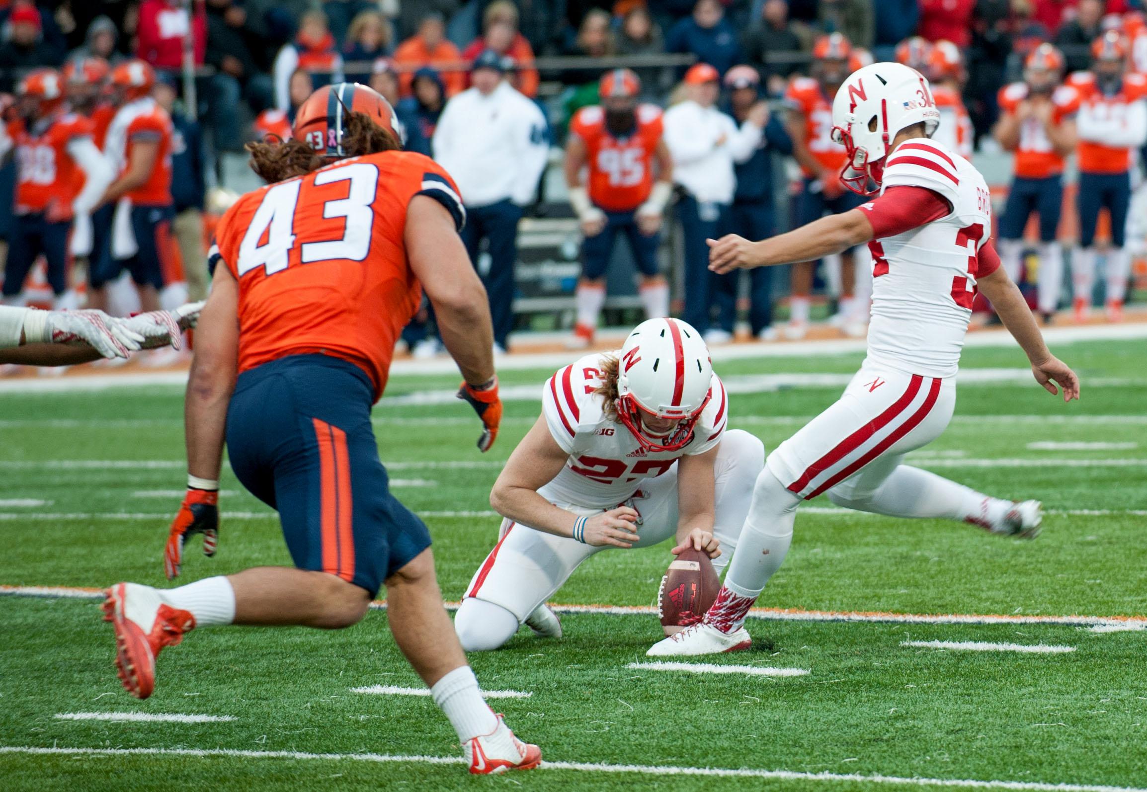 Nebraska place kicker Drew Brown (34) kicks a field goal during the second half of an NCAA college football game Saturday, Oct. 3, 2015, in Champaign, Ill.  Illinois won 14-13. (AP Photo/Bradley Leeb)