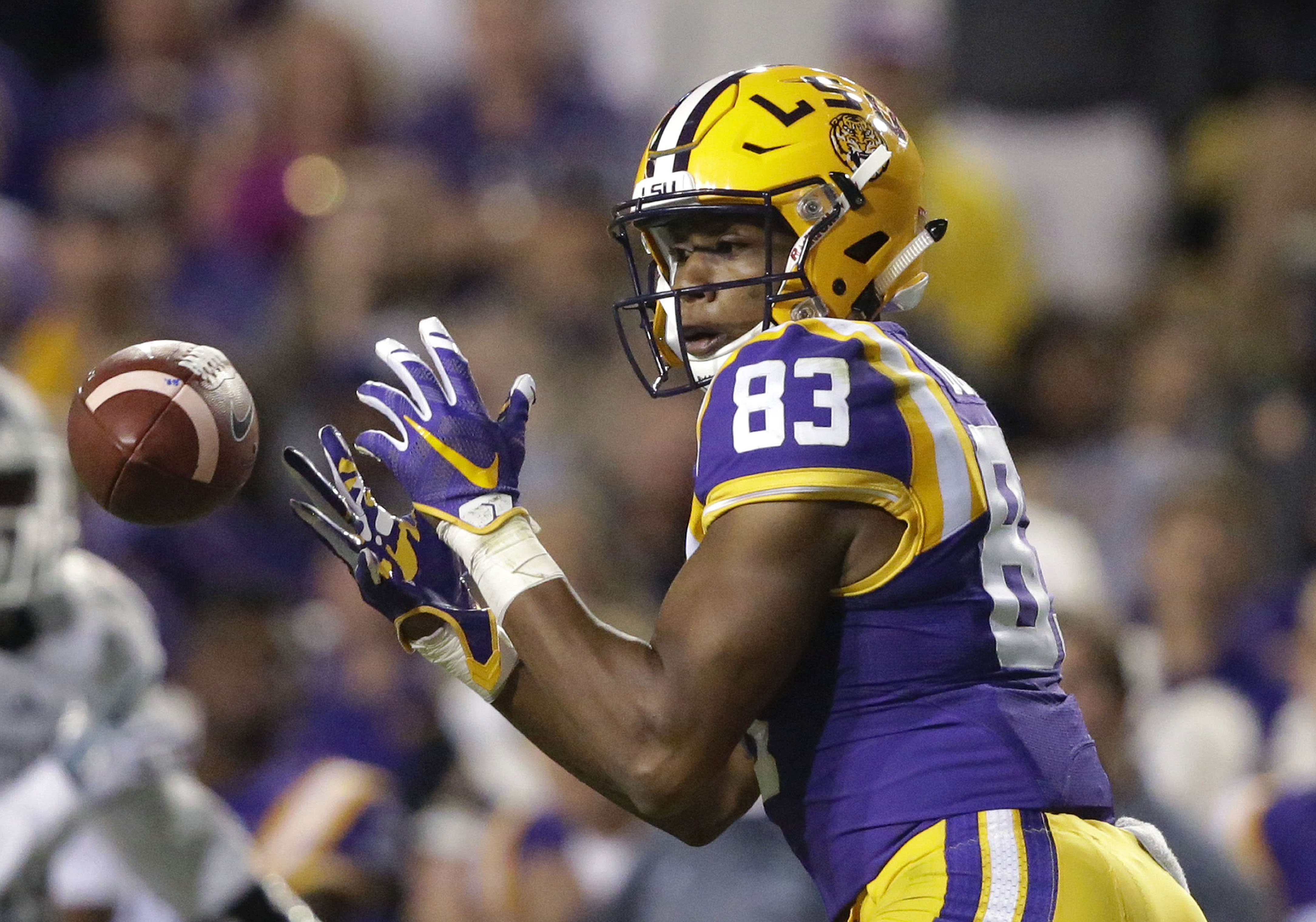 LSU wide receiver Travin Dural (83) drops a pass on third down deep in Eastern Michigan territory in the first half of an NCAA college football game in Baton Rouge, La., Saturday, Oct. 3, 2015. (AP Photo/Gerald Herbert)
