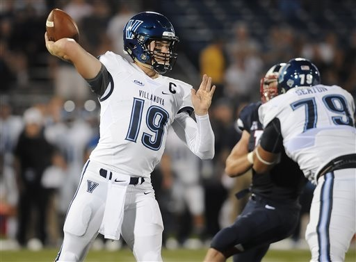 Villanova quarterback John Robertson (19) throws during the first half of an NCAA college football game at Rentschler Field against Connecticut, Thursday, Sept. 3, 2015, in East Hartford, Conn. (AP Photo/Jessica Hill)