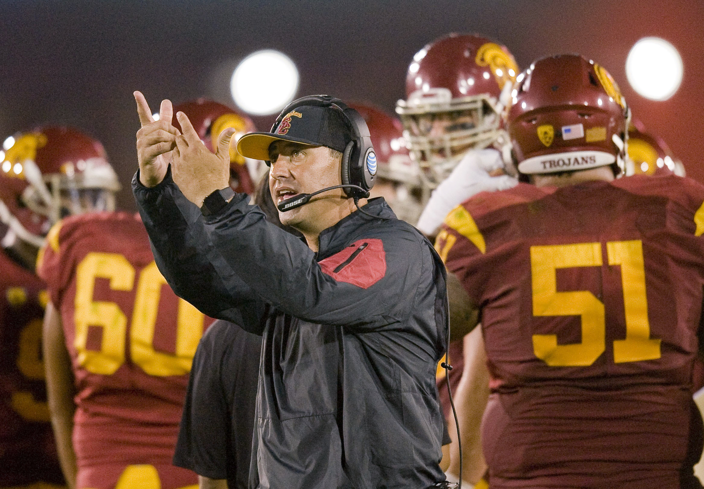 Southern California coach Steve Sarkisian reacts to a replay on the scoreboard during a break in the action against Washington in an NCAA college football game Thursday, Oct. 8, 2015, in Los Angeles. Washington won 17-12. (Paul Rodriguez/The Orange County