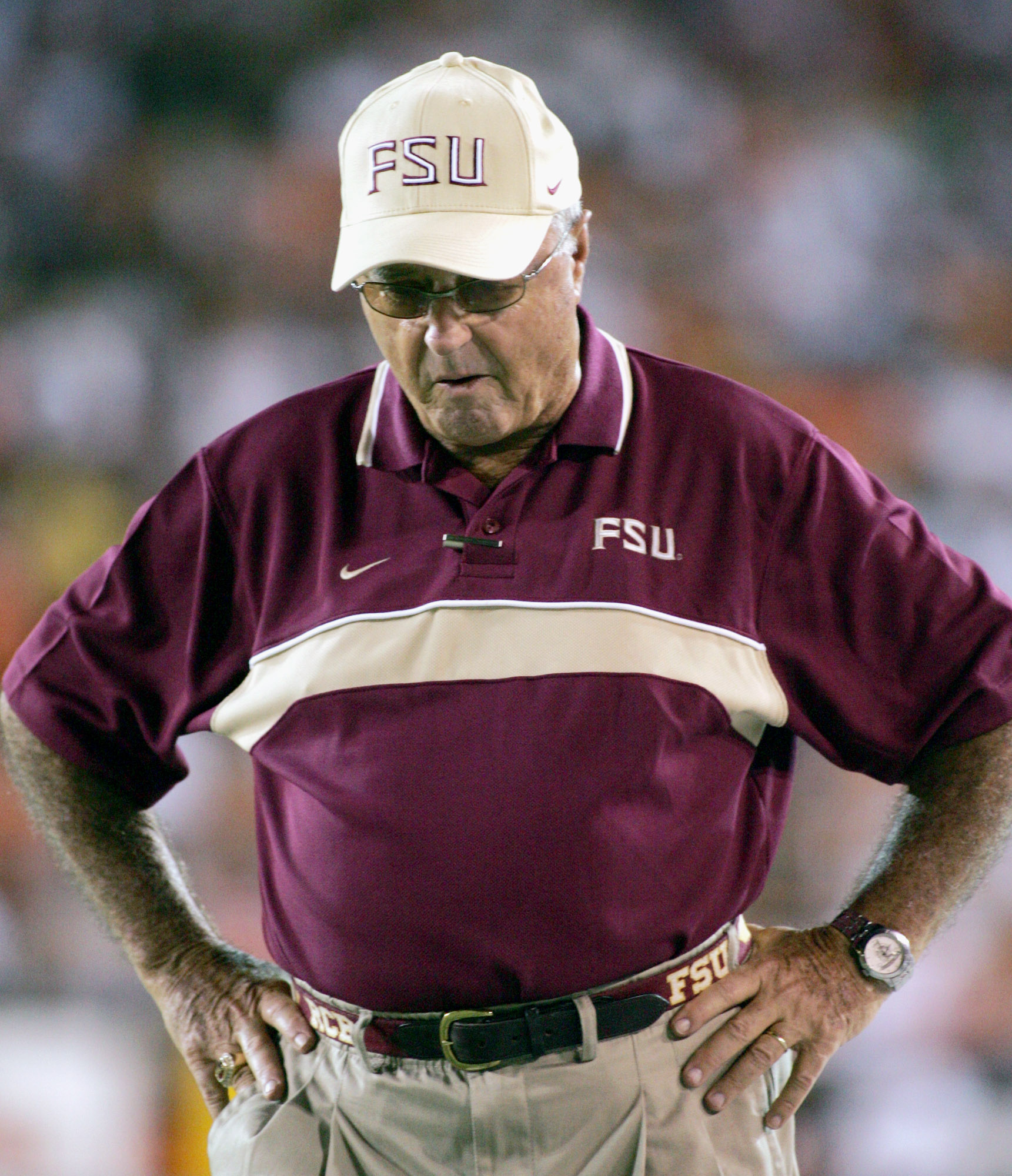 FILE - In this Sept. 10, 2004, file photo, Florida State coach Bobby Bowden paces along the sideline during an NCAA college football game against Miami in Miami. New coaches, new players, new era, but the 'Canes (3-1) and 12th-ranked 'Noles (4-0) tee it u
