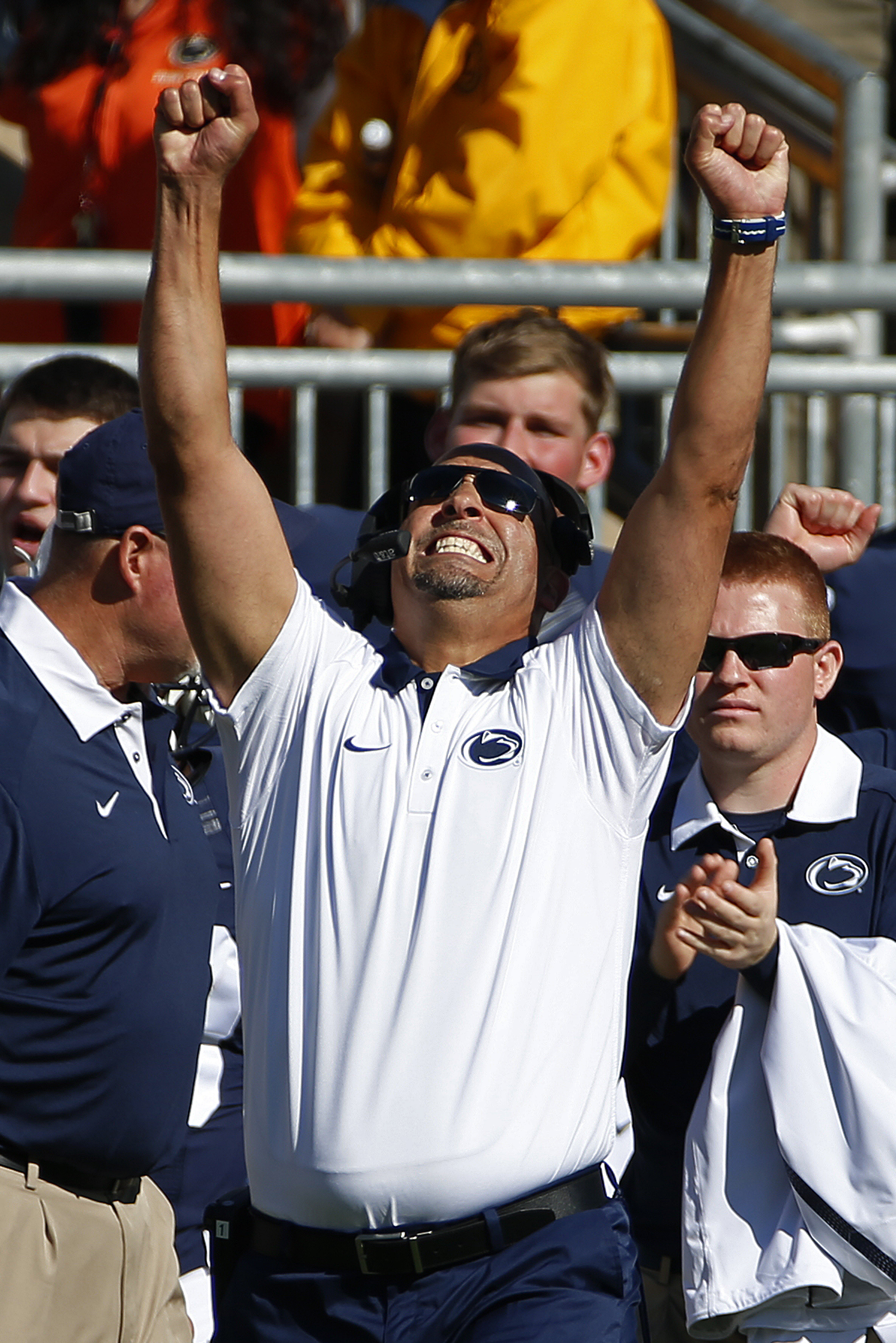 Penn State head coach James Franklin celebrates a 5-yard touchdown run by Penn State quarterback Christian Hackenberg (14) during the second half of an NCAA college football game against Indiana in State College, Pa., Saturday, Oct. 10, 2015. (AP Photo/Ge
