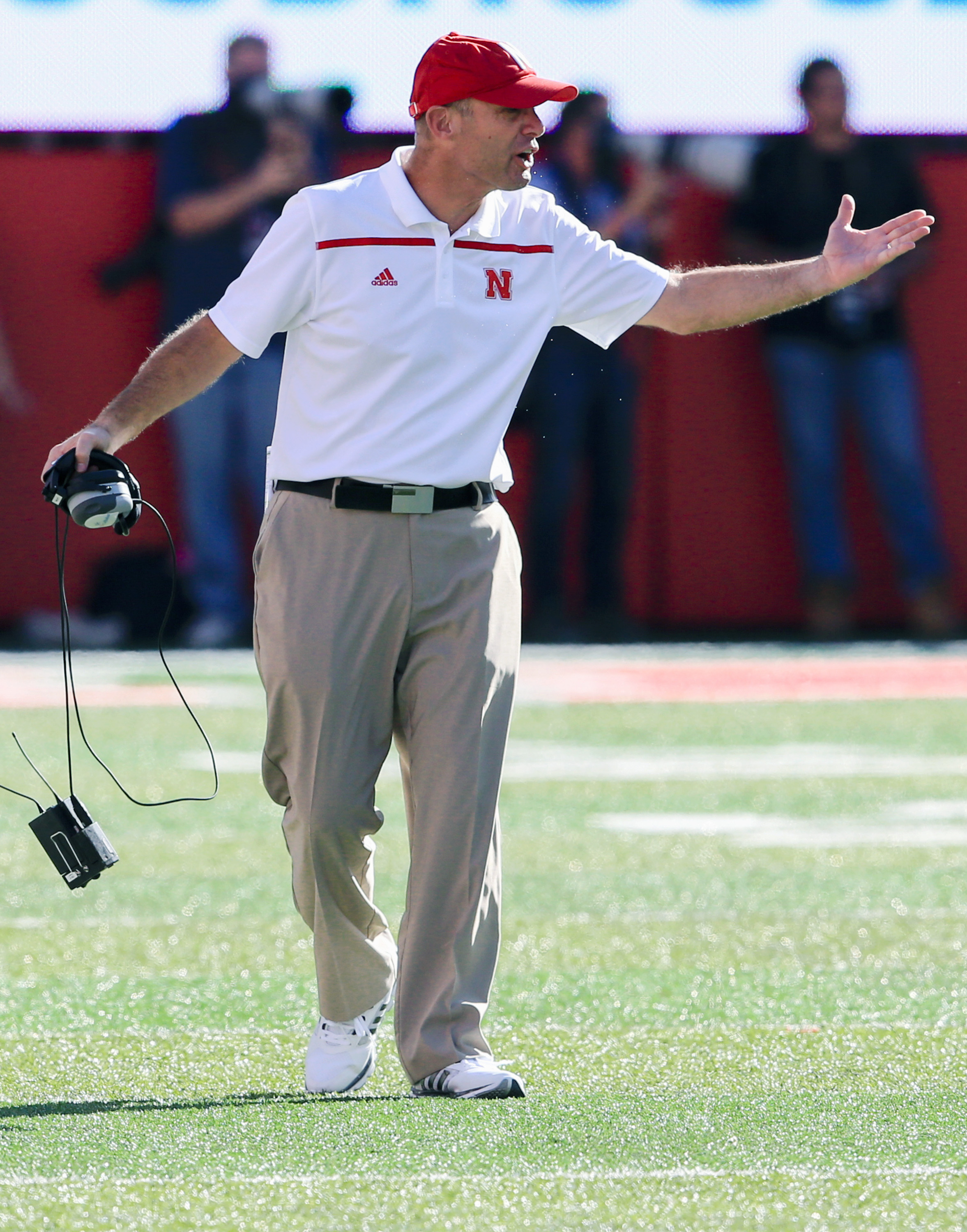 Nebraska head coach Mike Riley disputes a penalty against his team during the first half of an NCAA college football game against Wisconsin in Lincoln, Neb., Saturday, Oct. 10, 2015. (AP Photo/Nati Harnik)