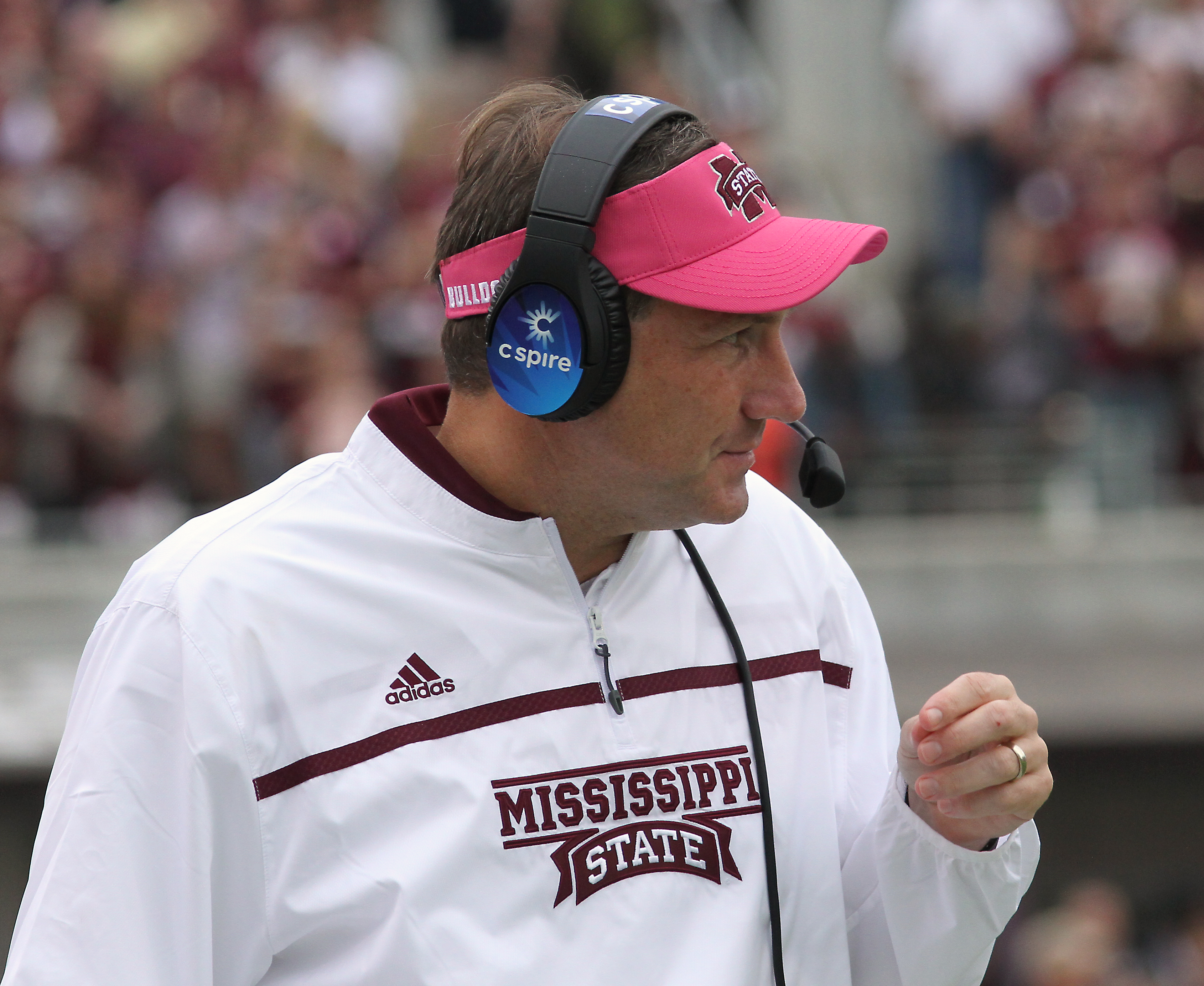 Mississippi State coach Dan Mullen reacts to a play during the first half of an NCAA college football game against Troy in Starkville, Miss., Saturday, Oct. 10, 2015. (AP Photo/Jim Lytle)